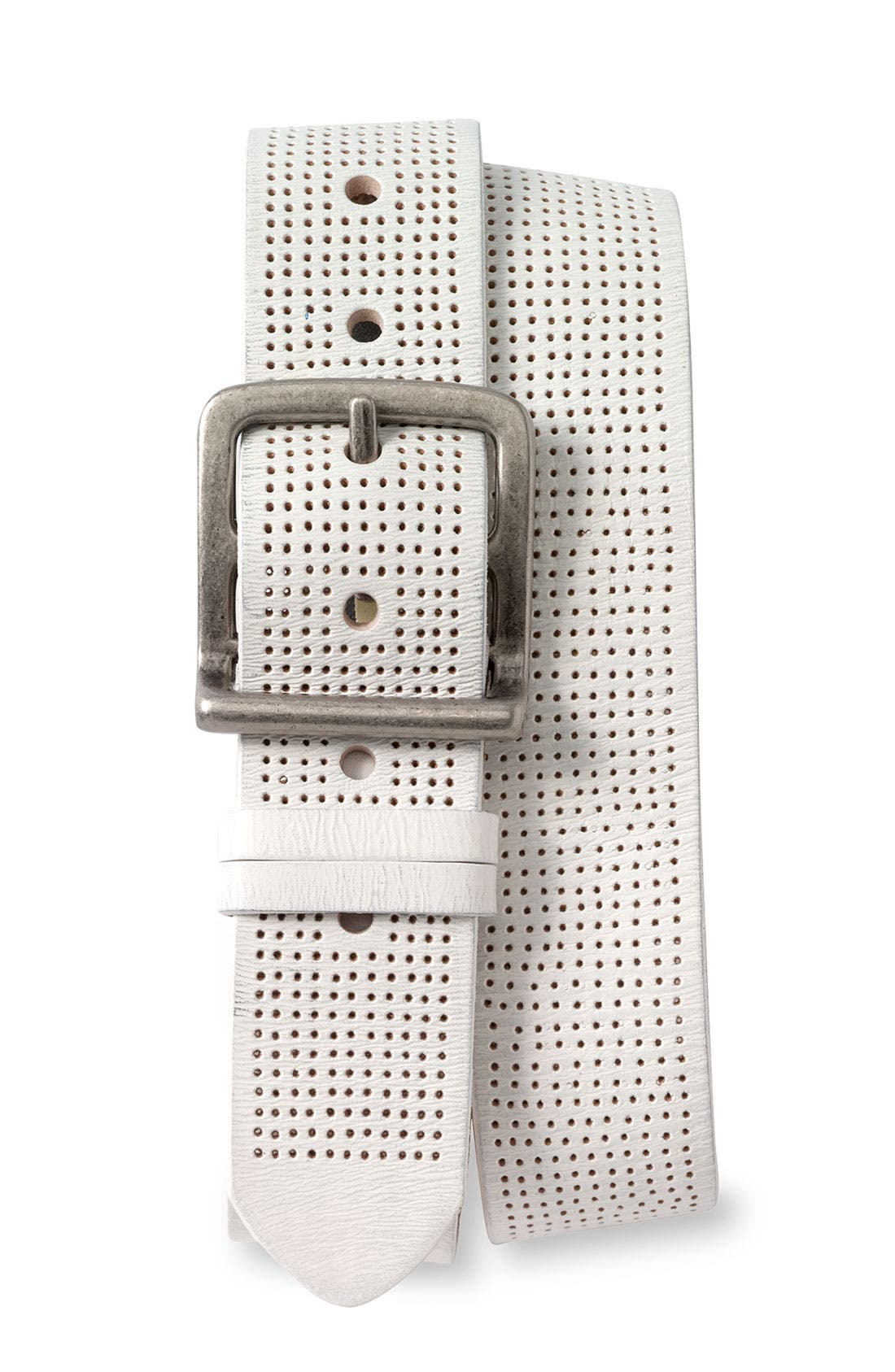 Perforated Leather Belt,                             Main thumbnail 3, color,