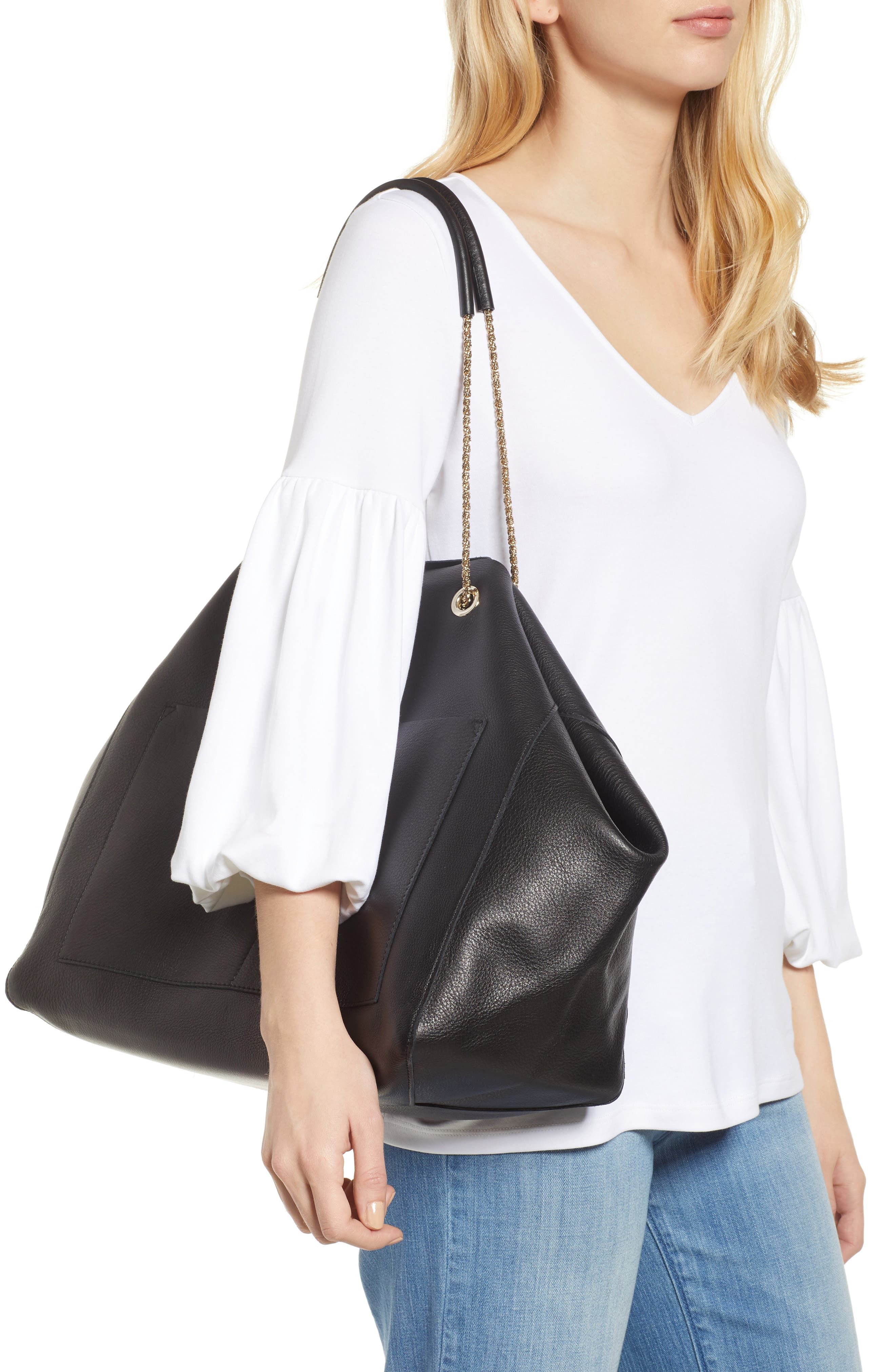 Gaby Leather Tote,                             Alternate thumbnail 2, color,                             001