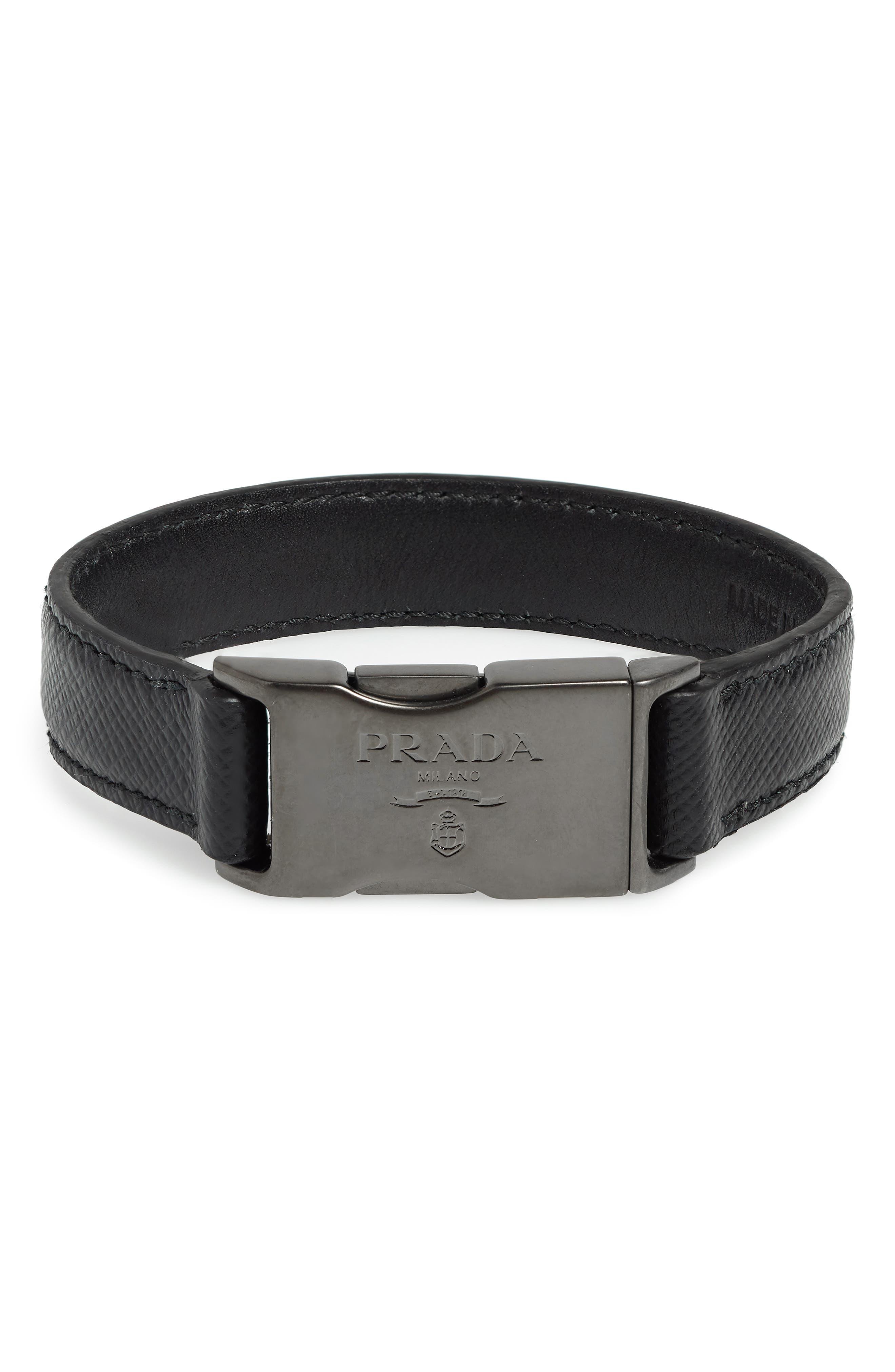 Saffiano Leather Bracelet,                         Main,                         color, BLACK