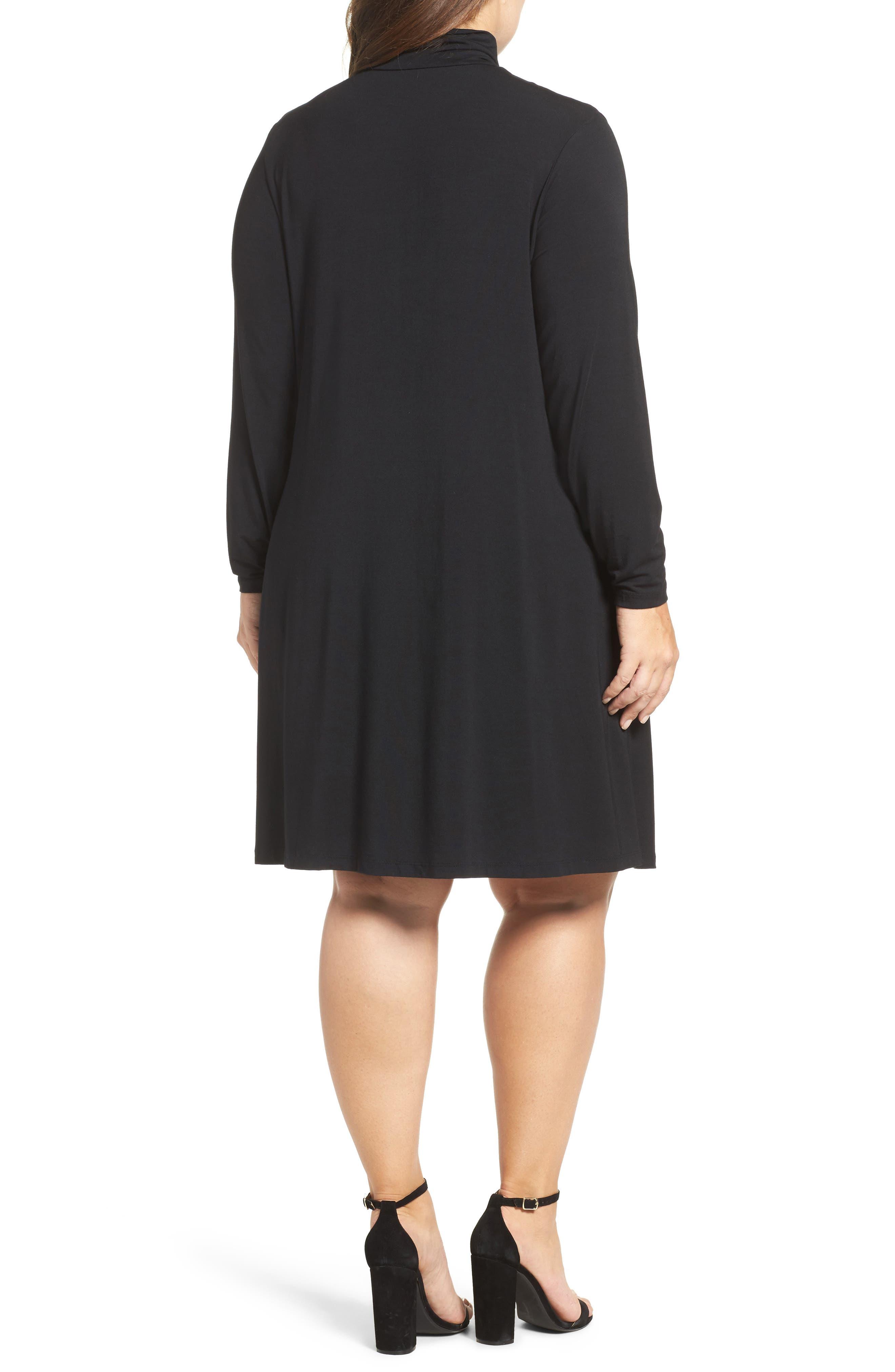 Sally Turtleneck A-Line Dress,                             Alternate thumbnail 3, color,                             001