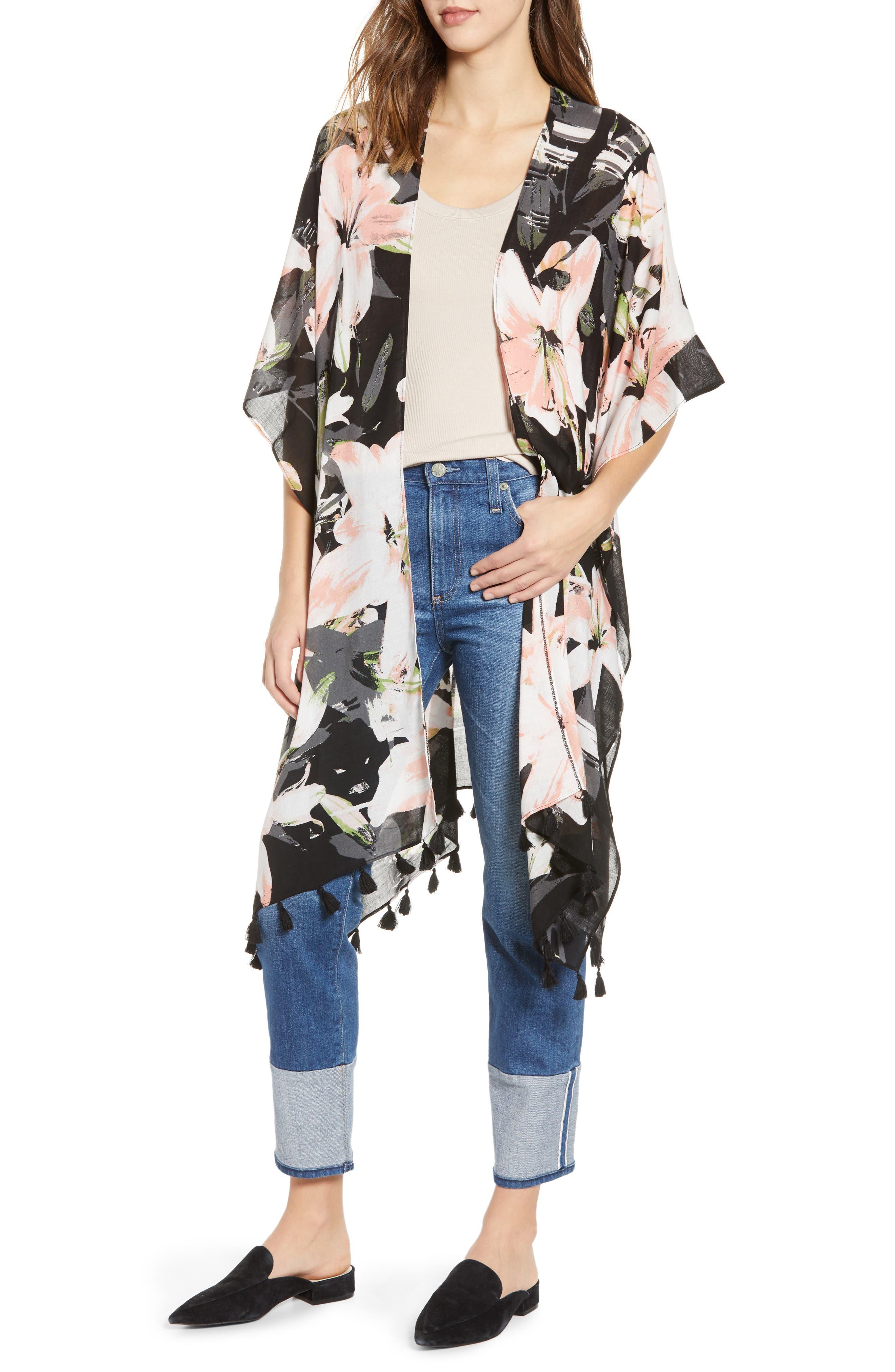 NORDSTROM,                             Print Kimono Wrap,                             Main thumbnail 1, color,                             BLACK DIGI FLORA