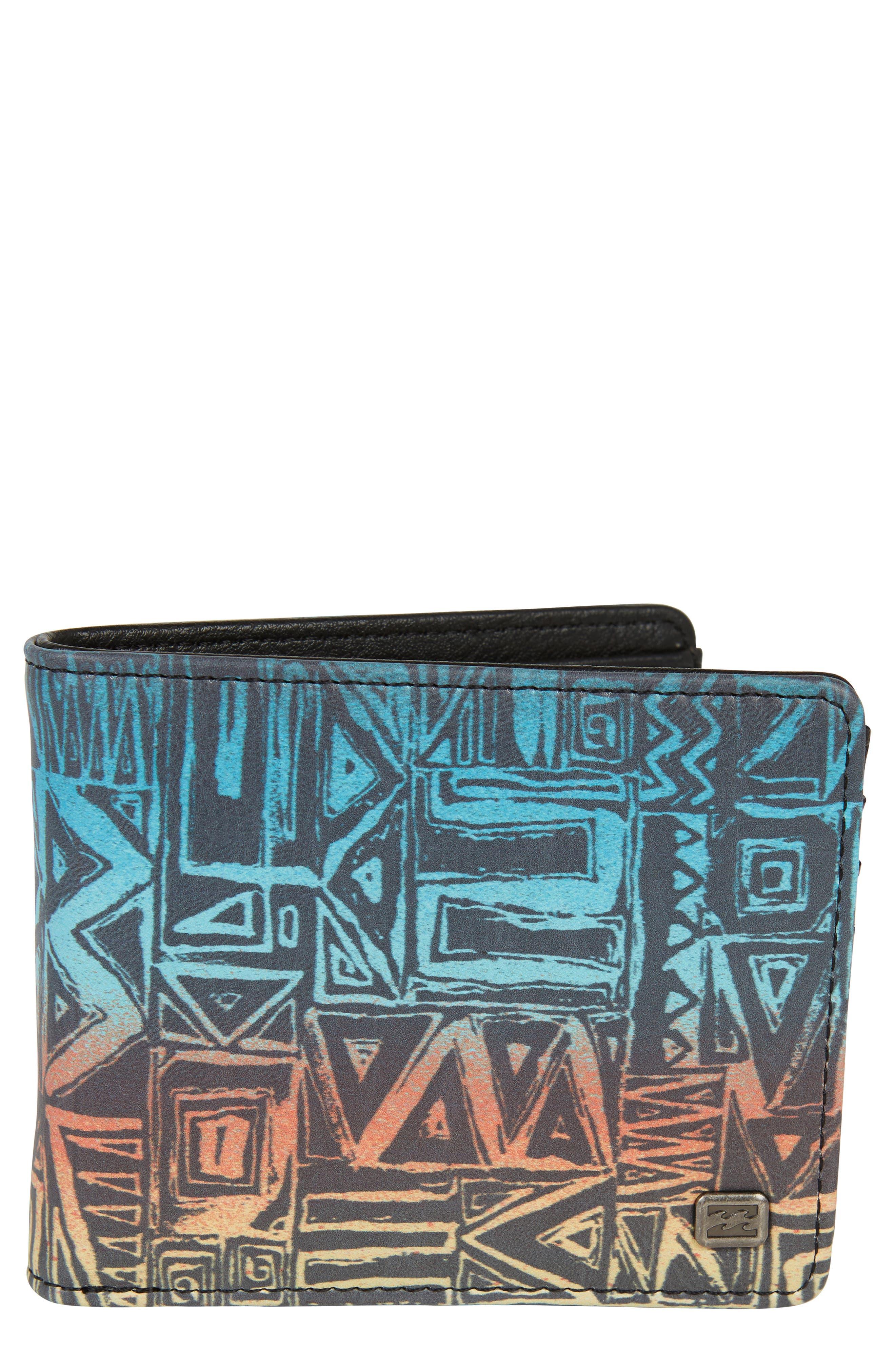 Tides Print Wallet,                             Main thumbnail 1, color,                             CHARCOAL