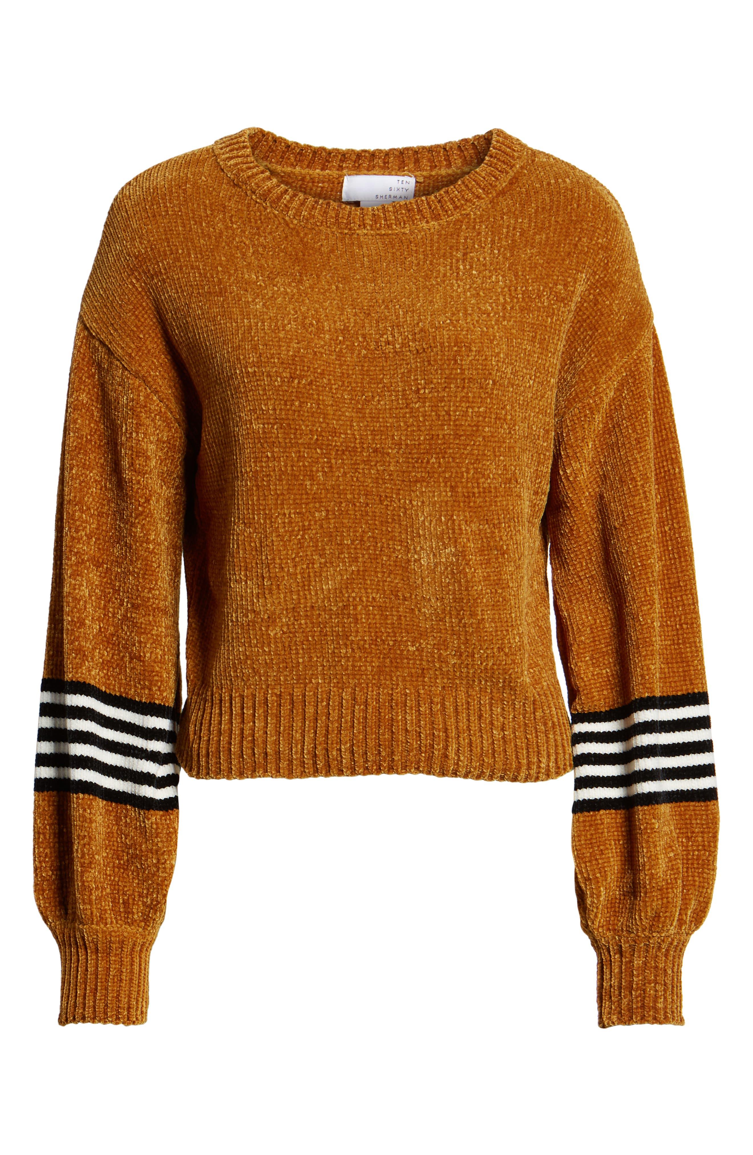 Stripe Sleeve Chenille Sweater,                             Alternate thumbnail 6, color,                             700