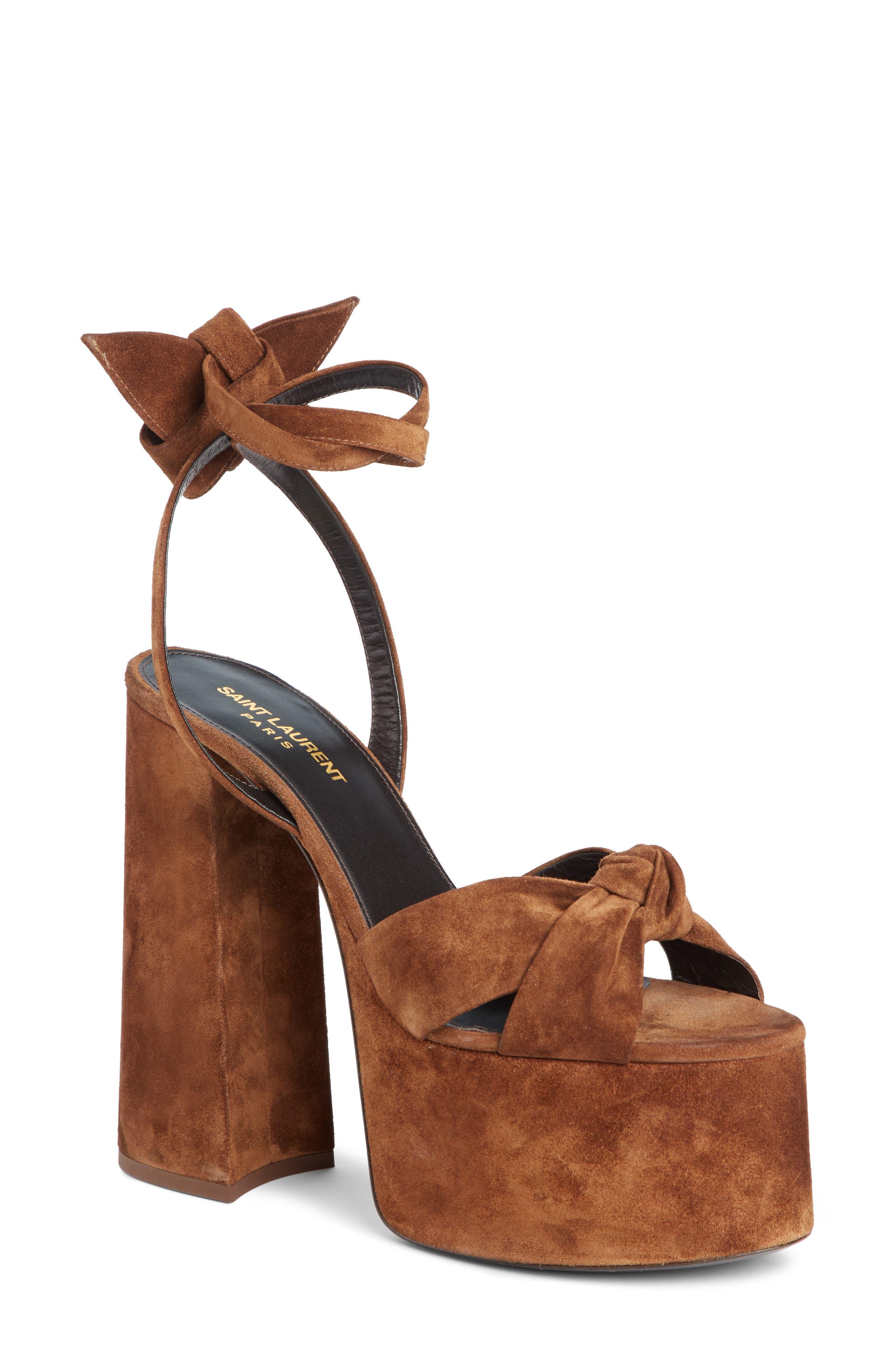 Paige Platform Suede Sandals in Brown Suede