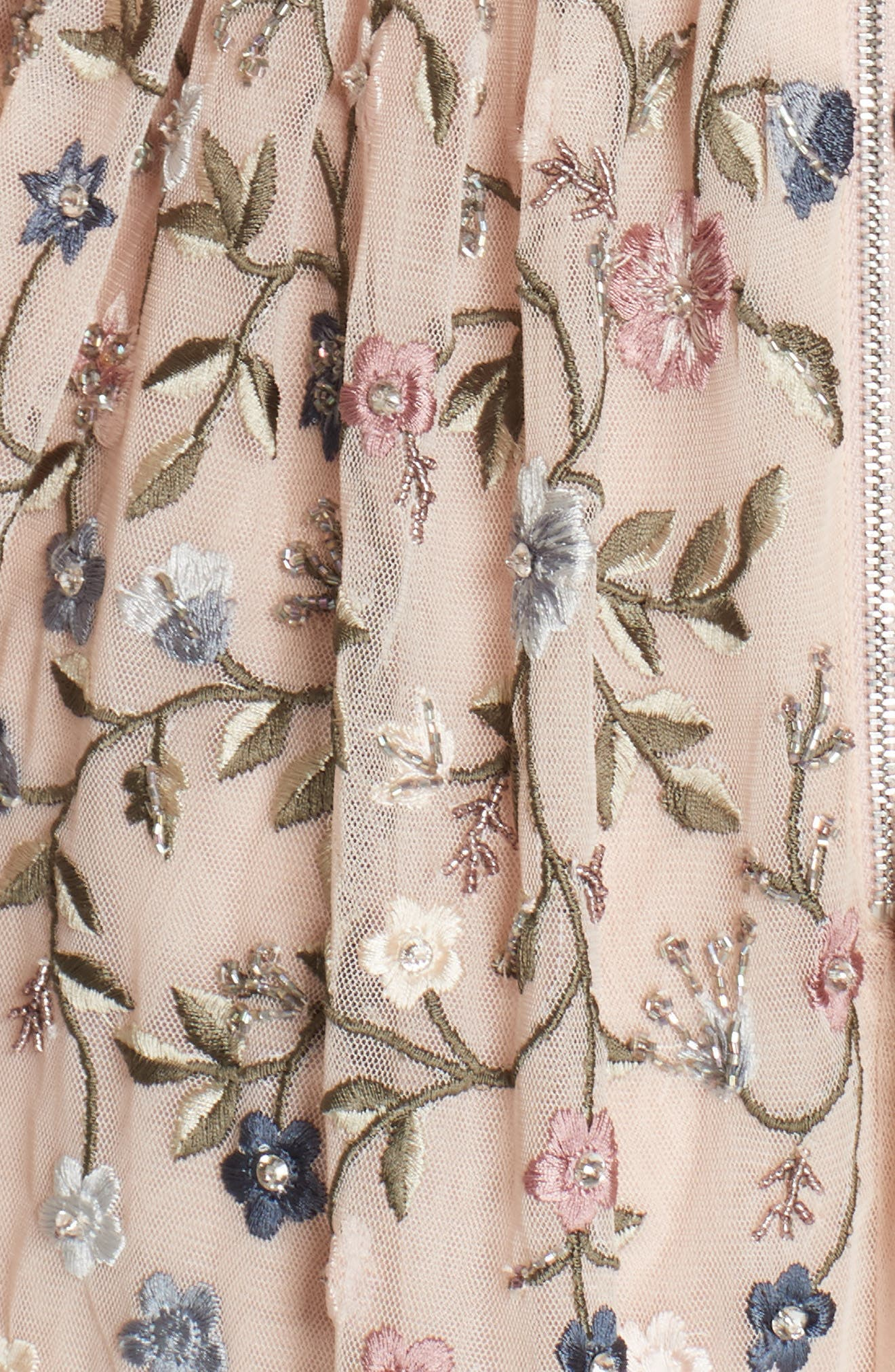 Dusk Floral A-Line Dress,                             Alternate thumbnail 5, color,                             ROSE QUARTZ