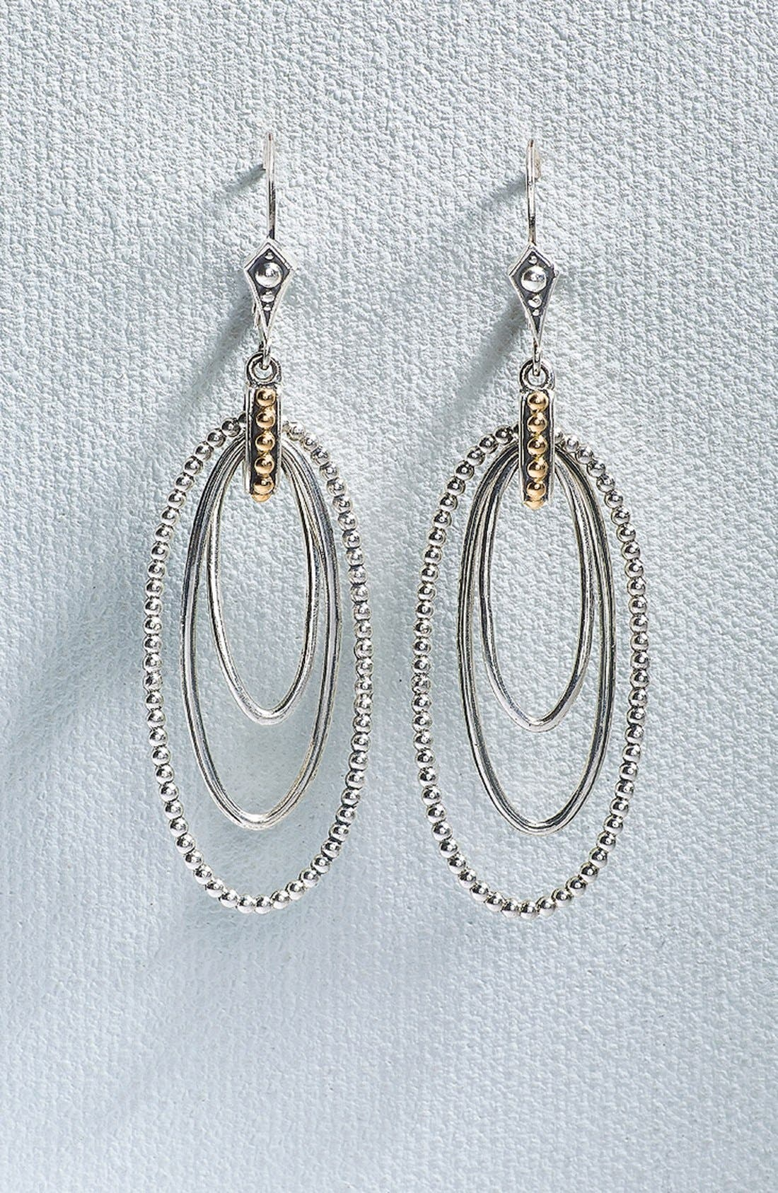 Caviar 'Superfine' Two-Tone Drop Earrings,                             Alternate thumbnail 3, color,                             SILVER/ GOLD