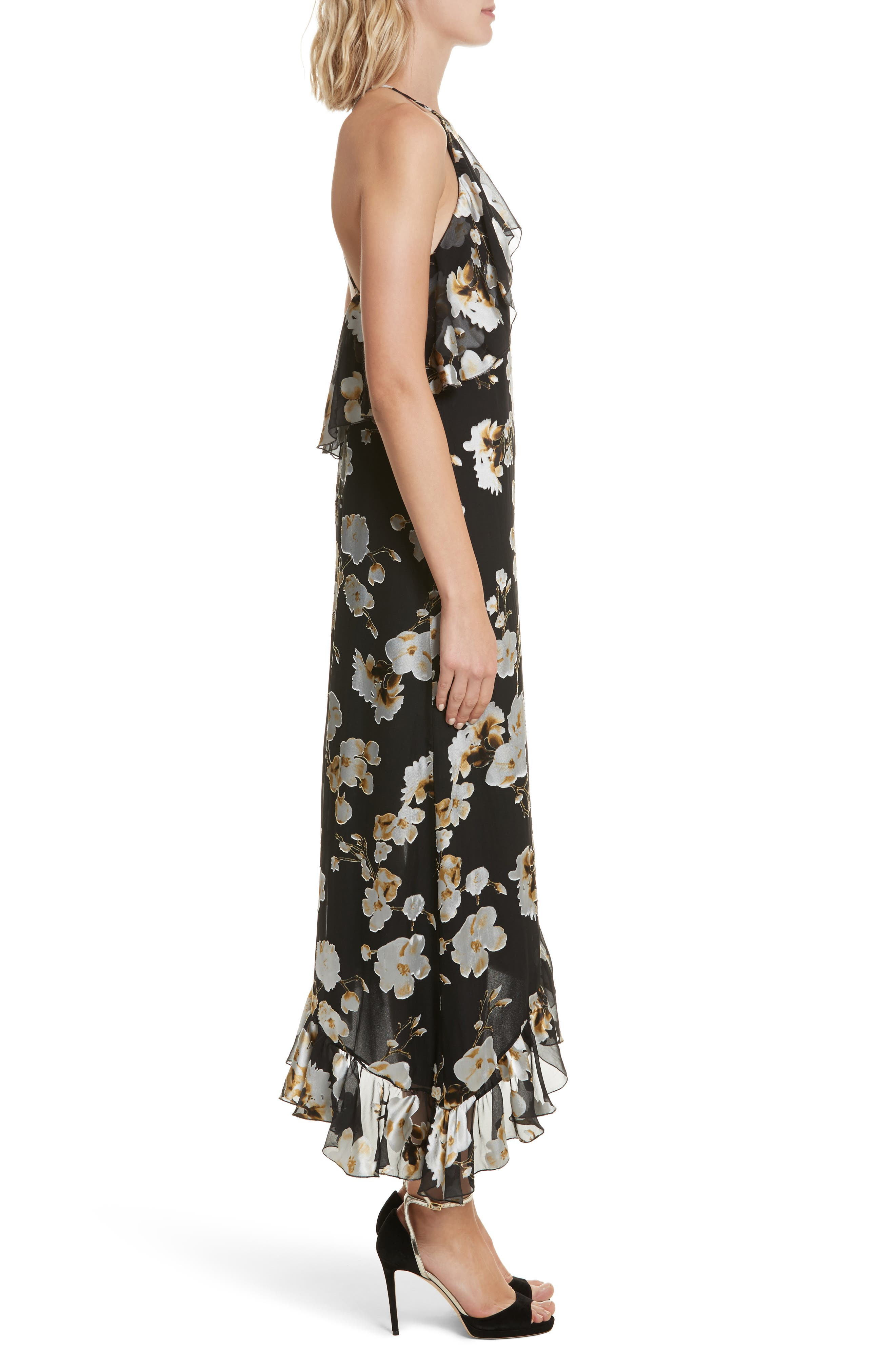 Fabiola Asymmetrical Ruffle A-Line Dress,                             Alternate thumbnail 3, color,                             003