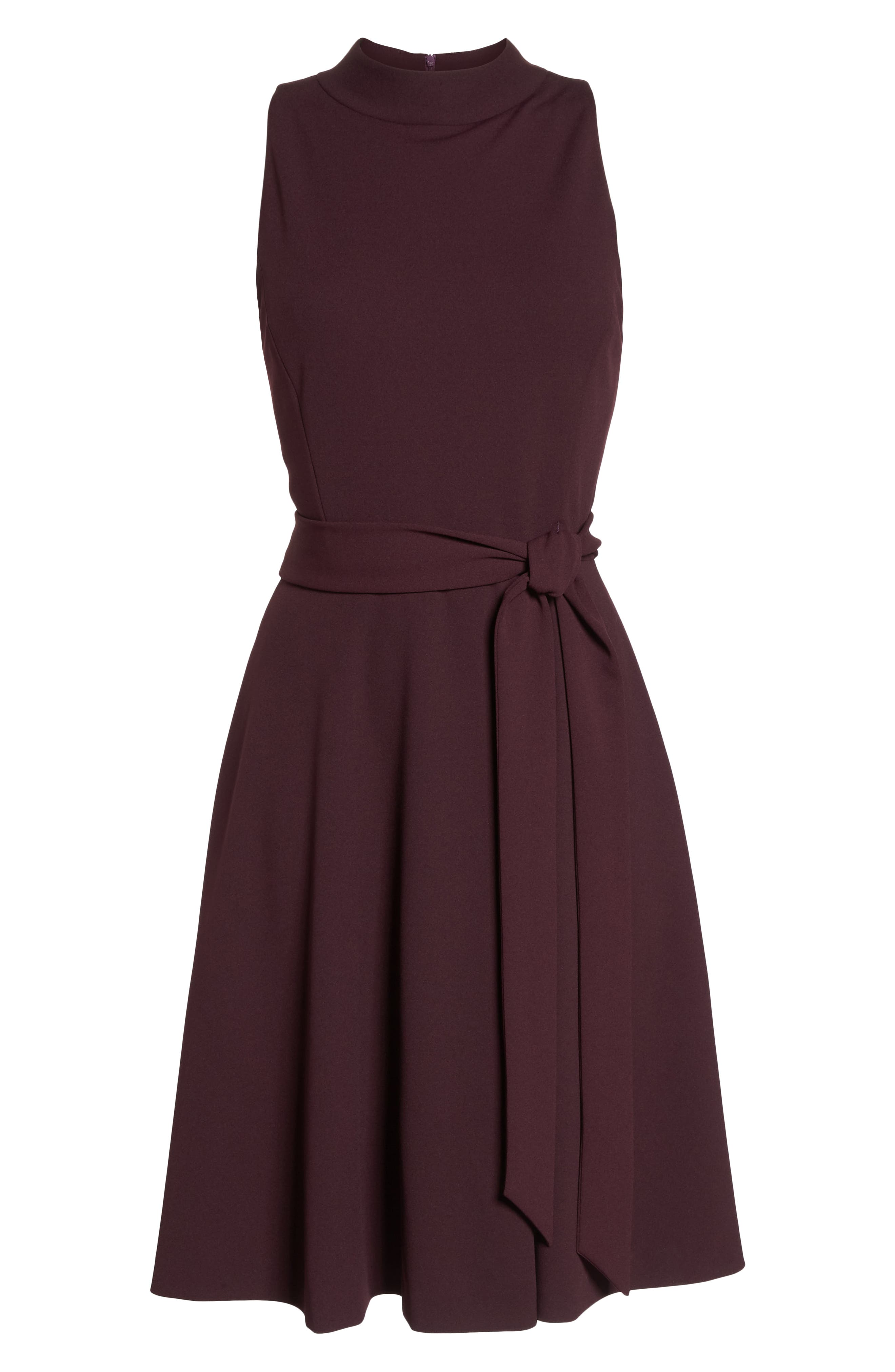 High Neck Scuba Crepe A-Line Dress,                             Alternate thumbnail 7, color,                             FIG