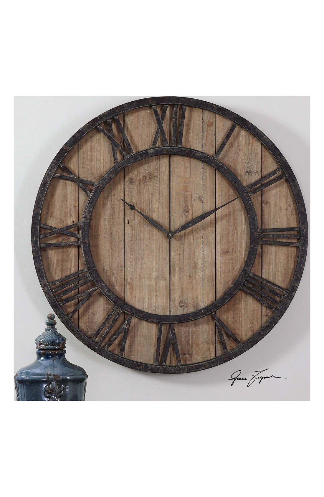 'Powell' Wooden Wall Clock,                             Alternate thumbnail 2, color,                             200