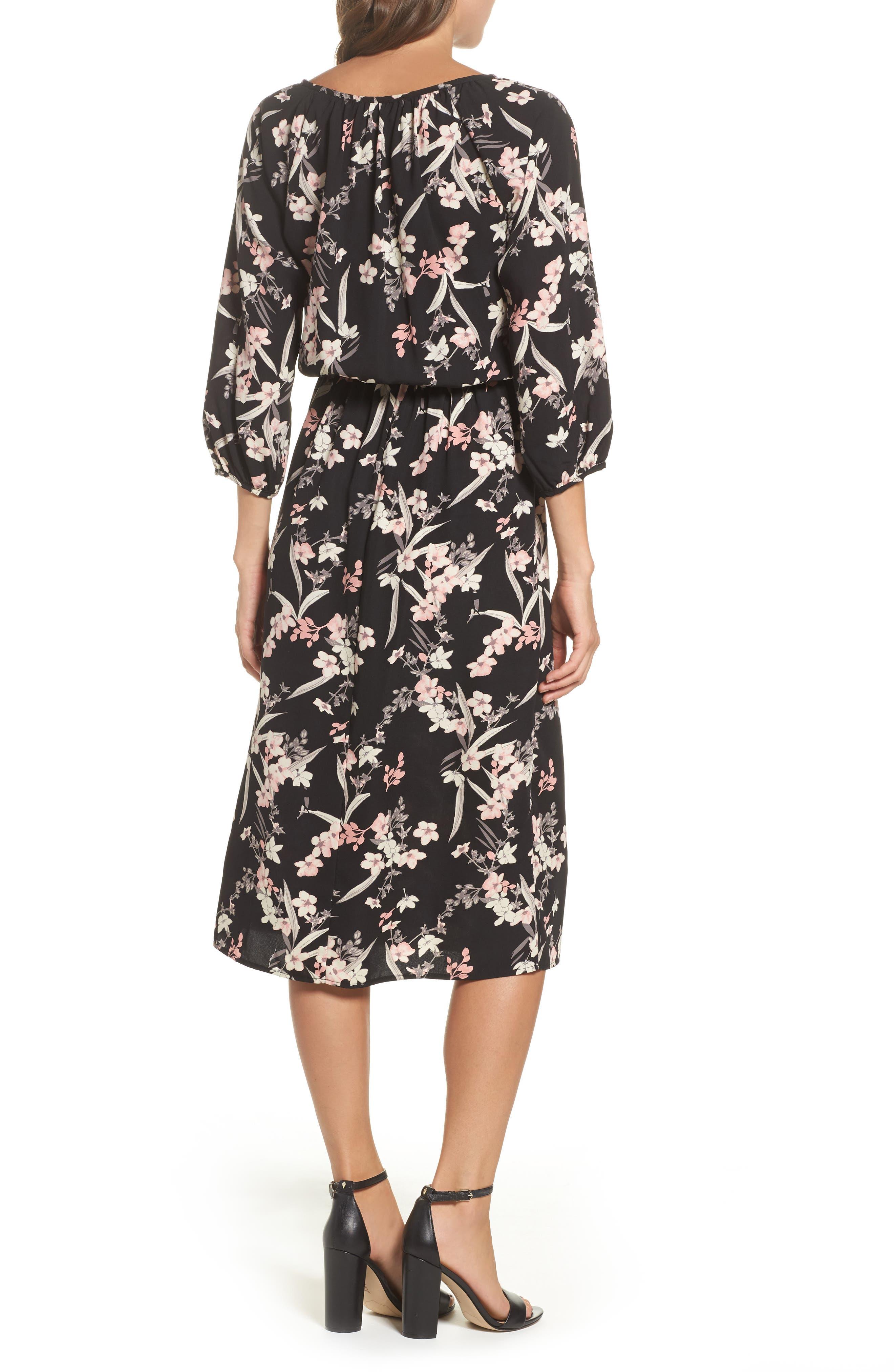 Blouson Midi Dress,                             Alternate thumbnail 2, color,                             IRIS