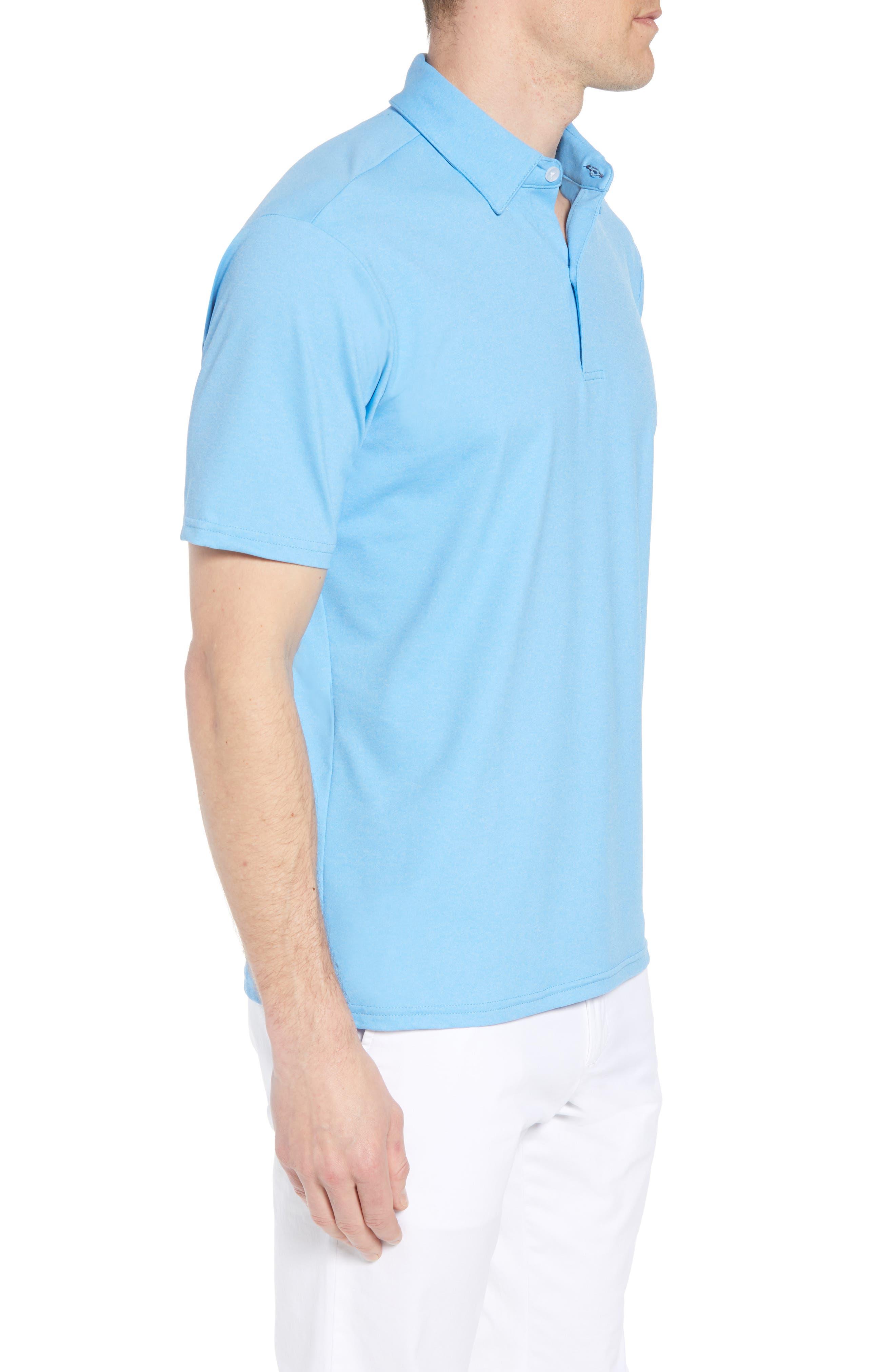 Slim Fit Active Polo,                             Alternate thumbnail 3, color,                             HACKETT BLUE
