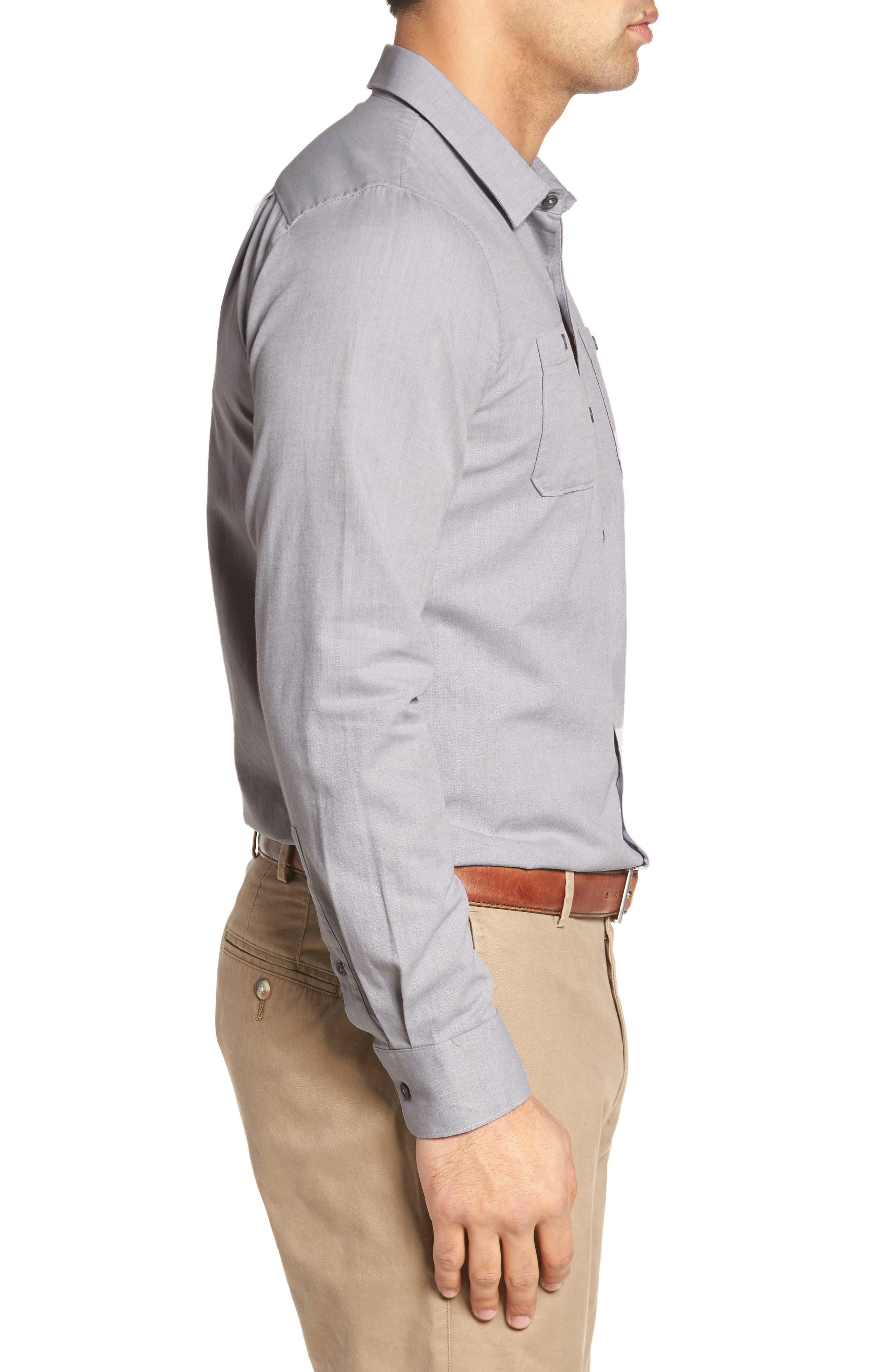 Gotemba Slim Fit Herringbone Sport Shirt,                             Alternate thumbnail 3, color,                             020