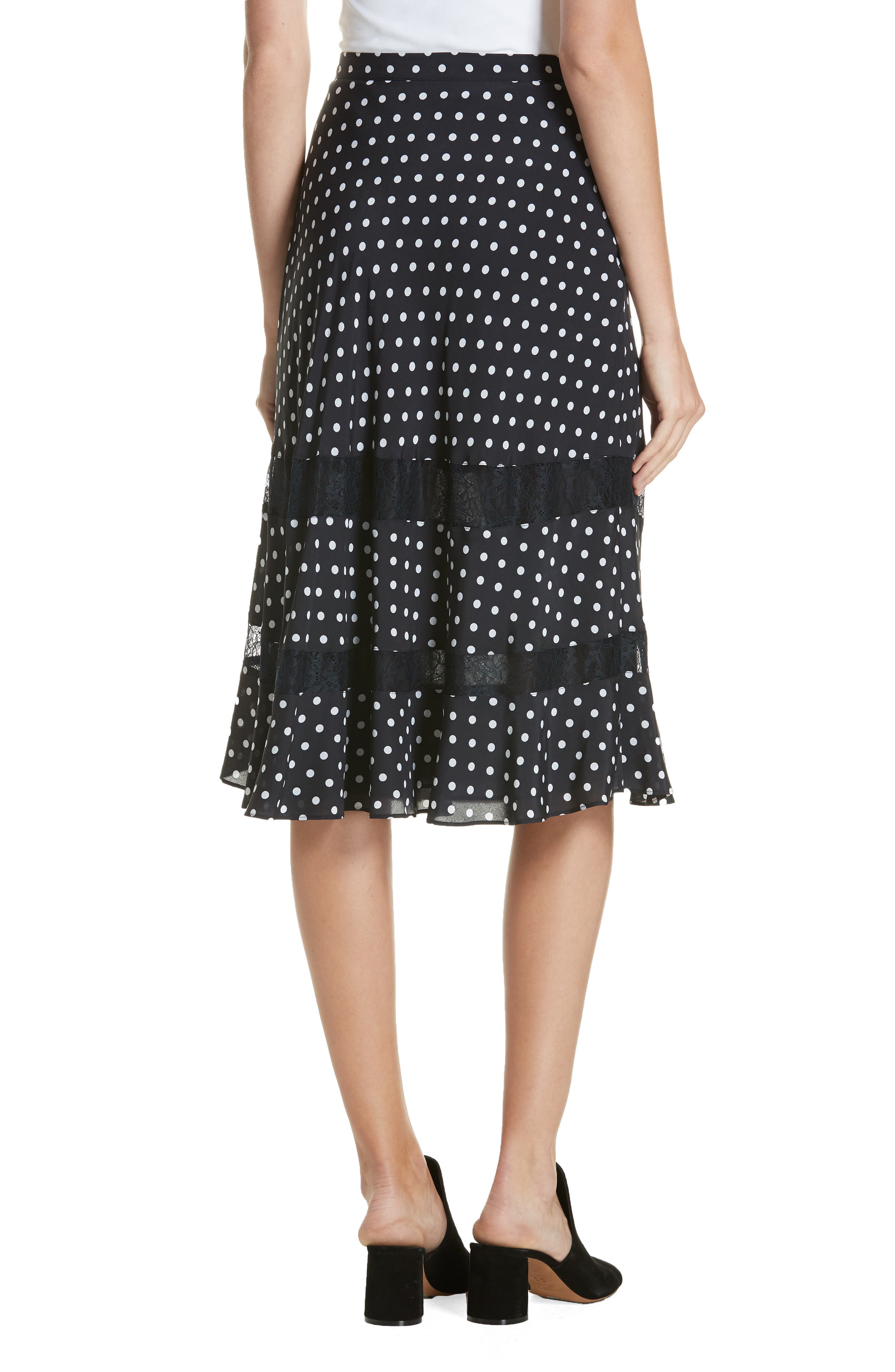 Lace Trim Dot Silk Skirt,                             Alternate thumbnail 2, color,                             NAVY NIGHT PETITE DOT