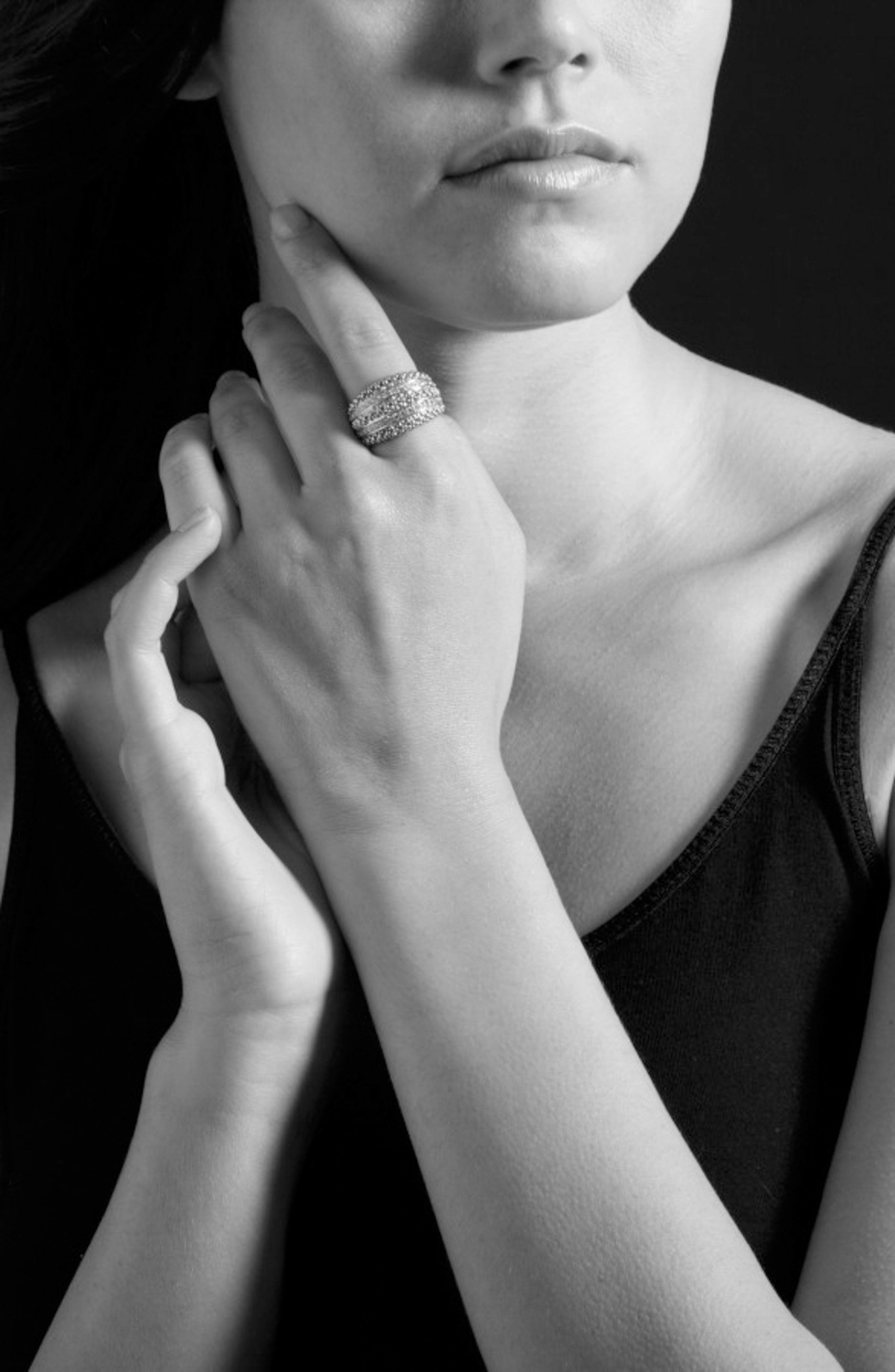 Diamond Caviar Beaded Ring,                             Alternate thumbnail 3, color,                             SILVER/ GOLD