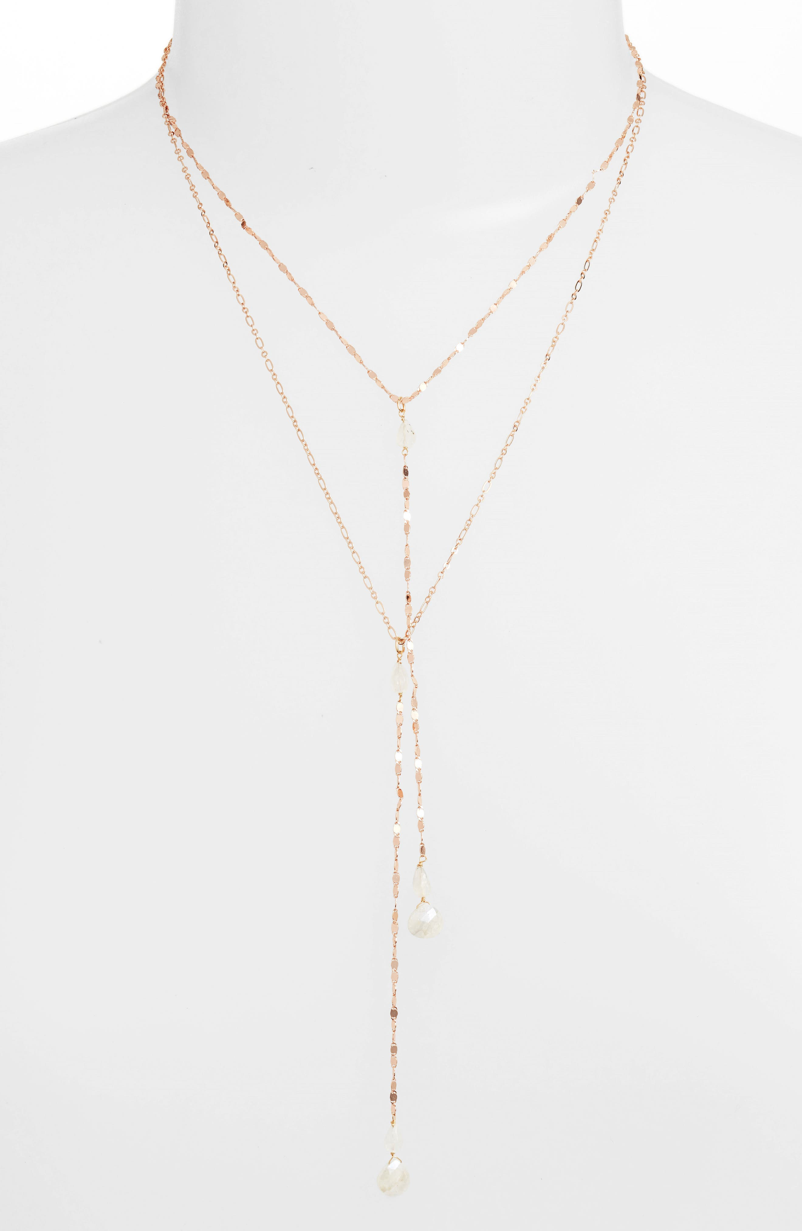 Layered Lariat Necklace,                         Main,                         color, ROSE GOLD/ MOONSTONE