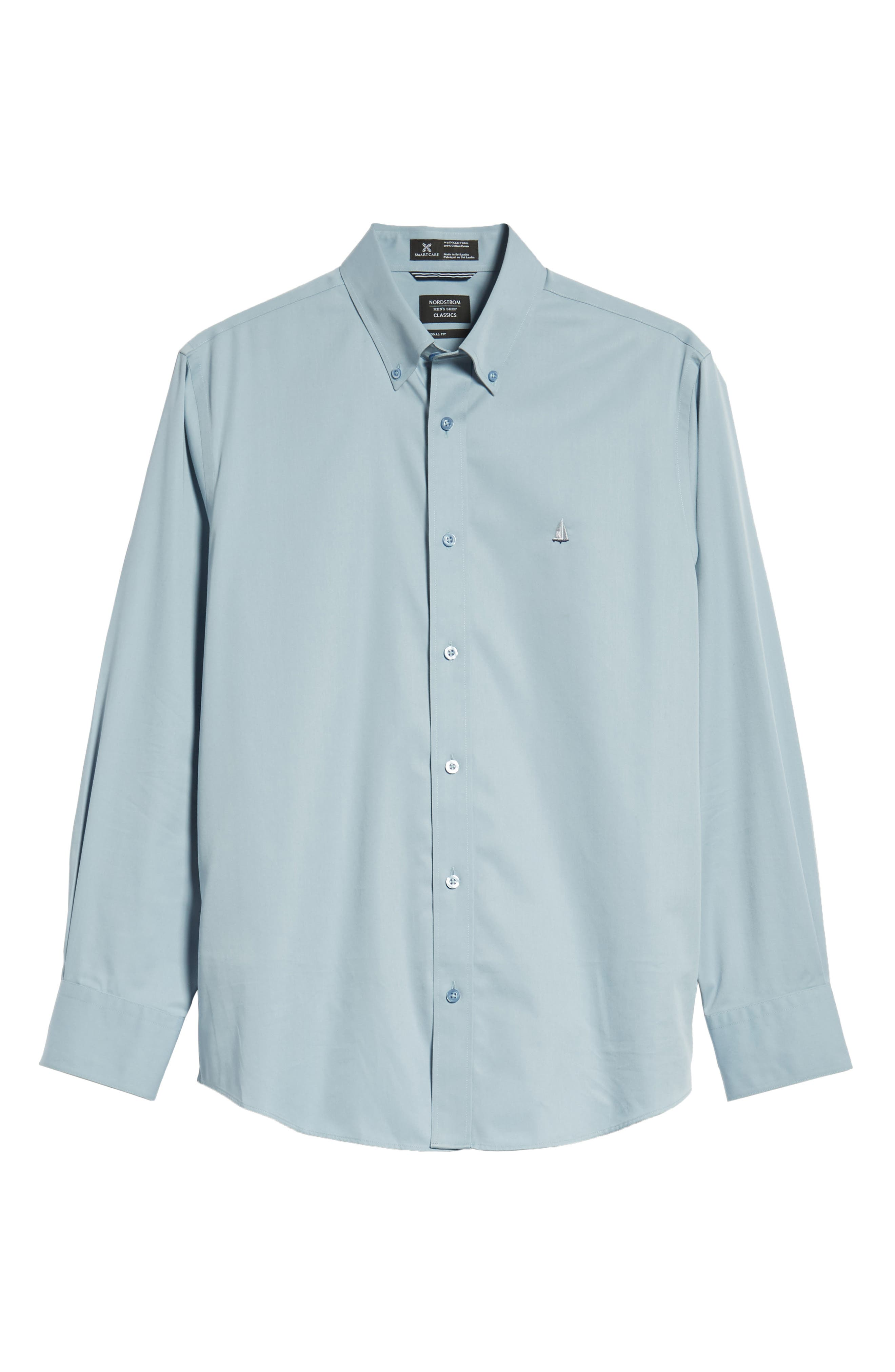 Smartcare<sup>™</sup> Traditional Fit Twill Boat Shirt,                             Alternate thumbnail 6, color,                             BLUE DRIZZLE