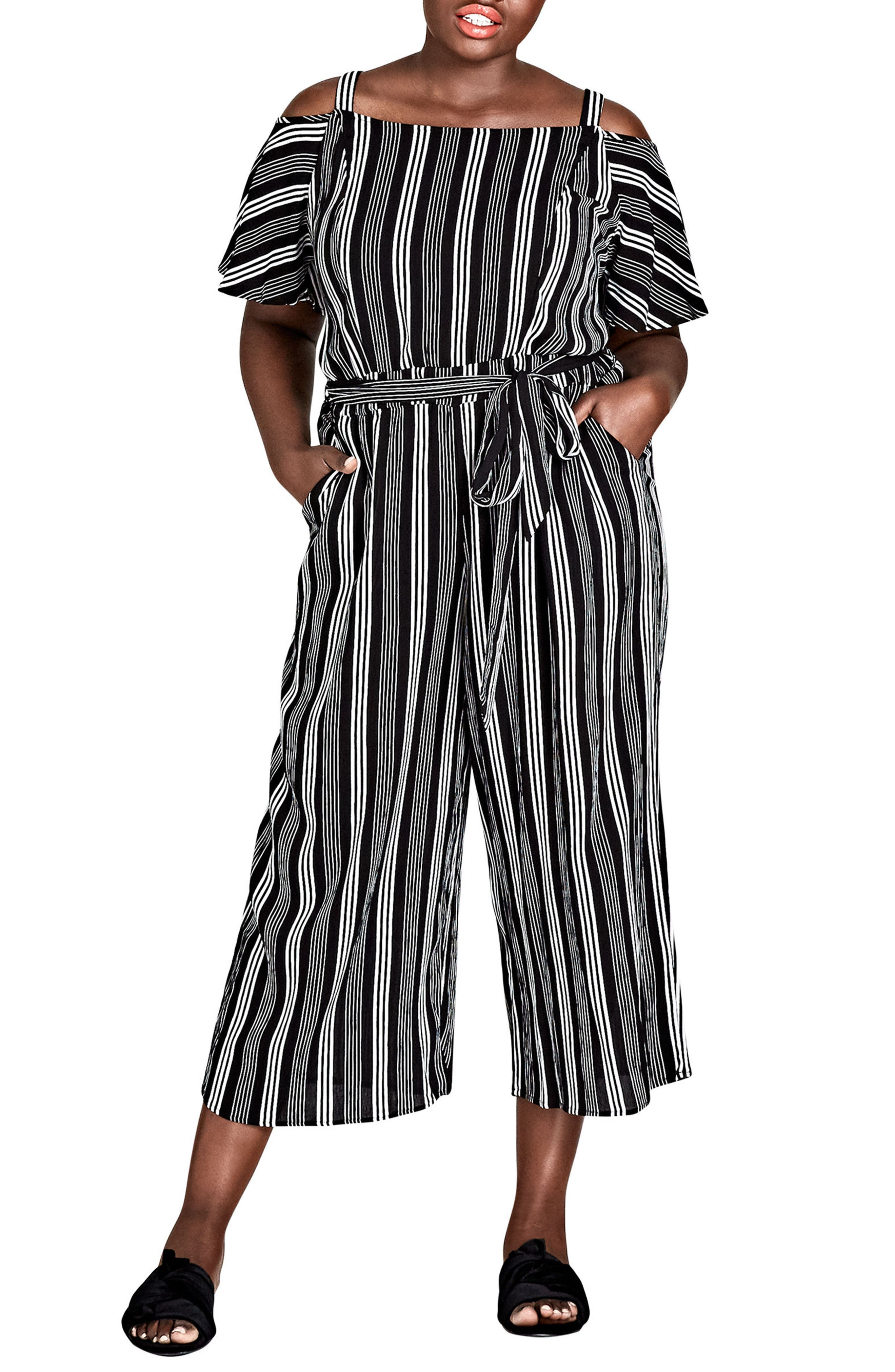Stripe Play Cold Shoulder Jumpsuit,                             Main thumbnail 1, color,                             001