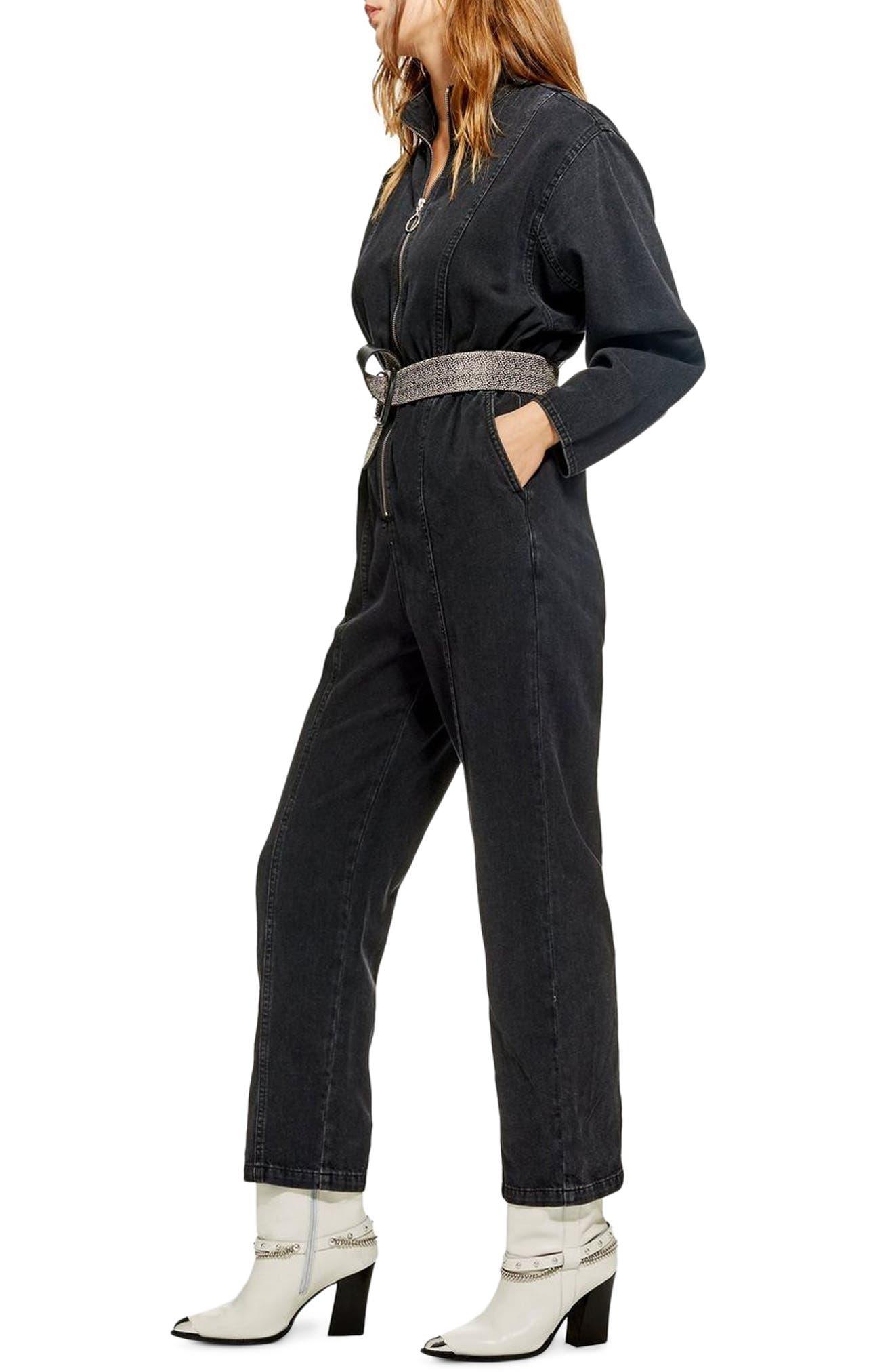 TOPSHOP,                             Rock It Boiler Jumpsuit,                             Alternate thumbnail 4, color,                             BLACK