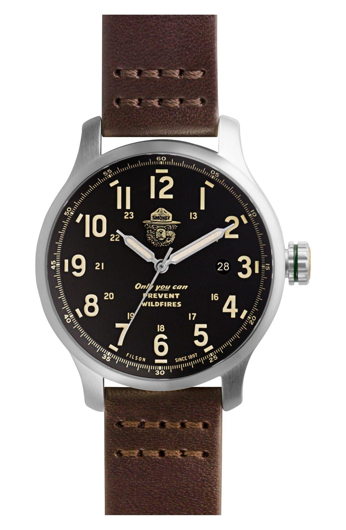SHINOLA,                             x Filson The Smokey Bear Leather Strap Watch Gift Set, 43mm,                             Main thumbnail 1, color,                             200