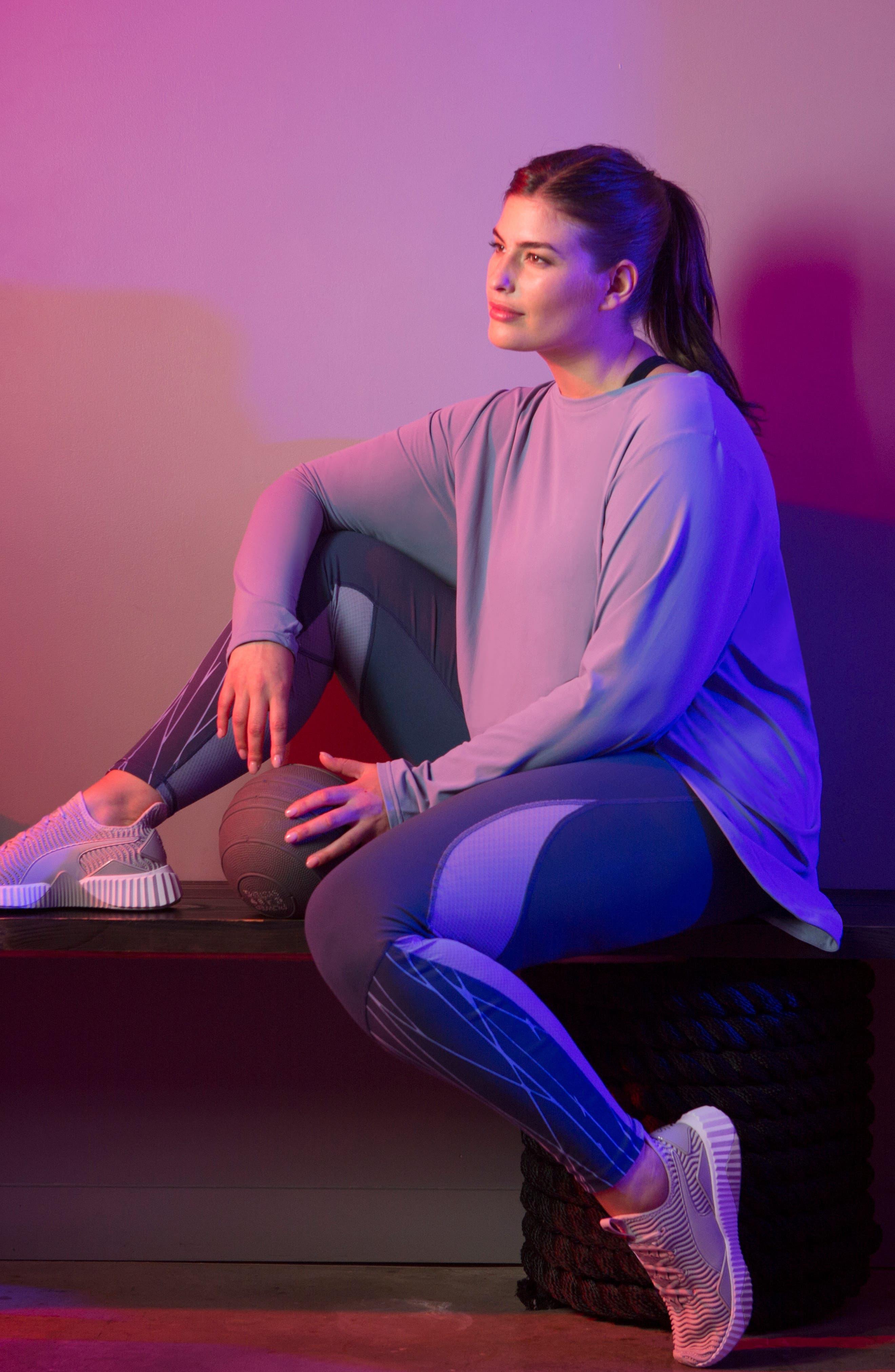 SHAPE ACTIVEWEAR,                             Opt Out High/Low Sweatshirt,                             Alternate thumbnail 5, color,                             INFINITY