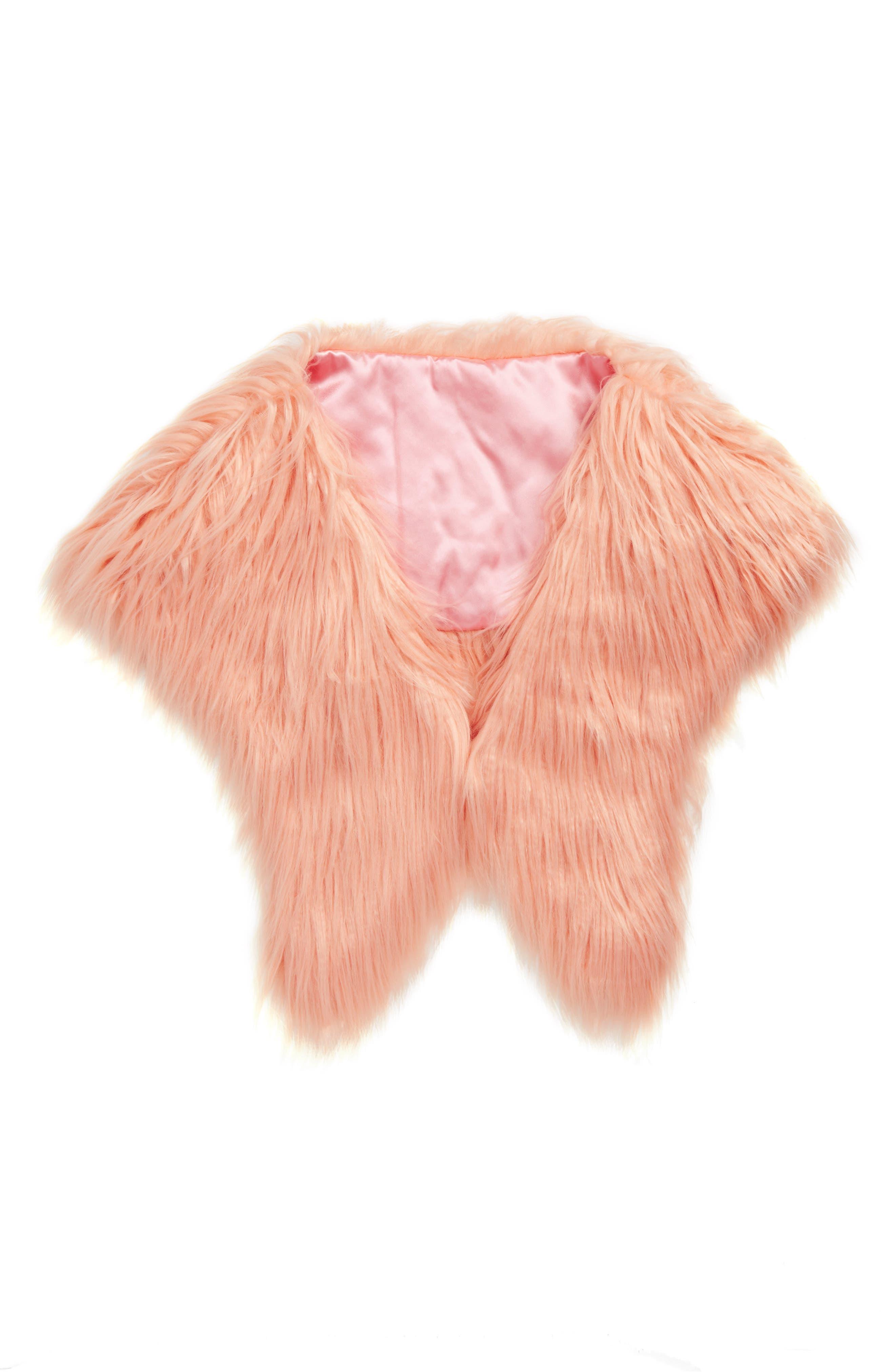 Faux Fur Shrug,                         Main,                         color, PINK