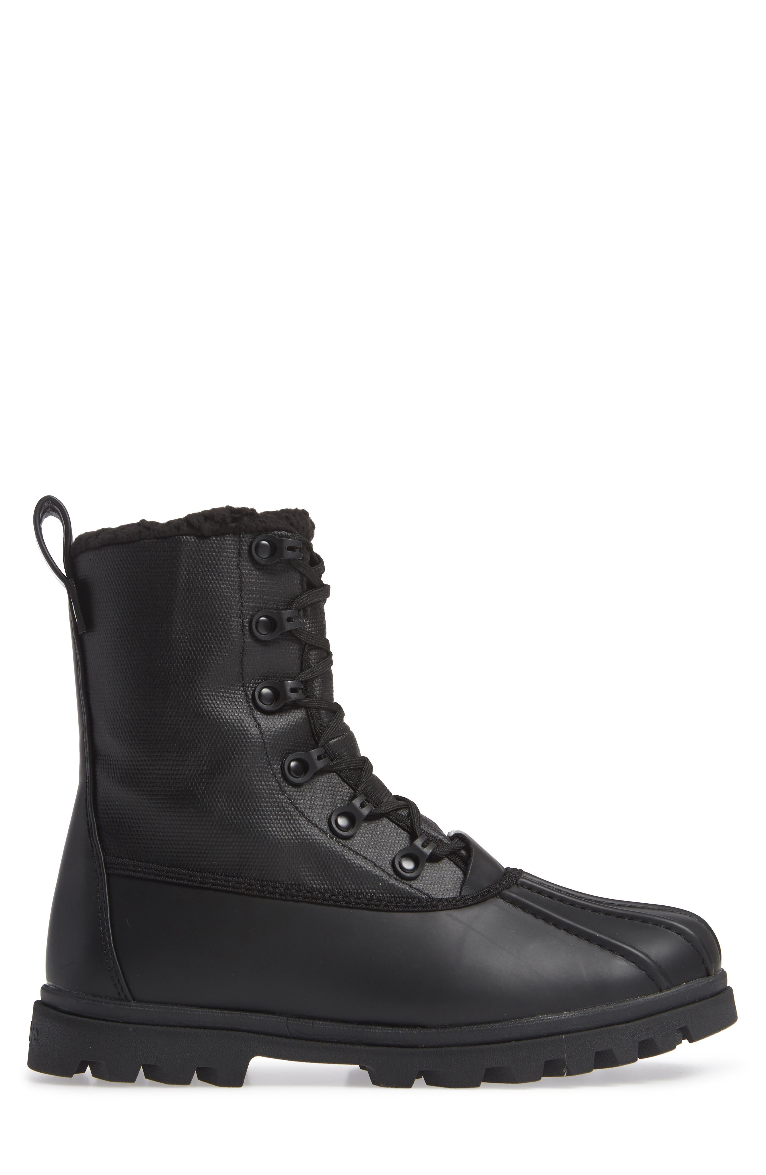 Native Jimmy Treklite Water Repellent Boot with Faux Shearling Liner,                             Alternate thumbnail 3, color,                             JIFFY BLACK/ JIFFY BLACK
