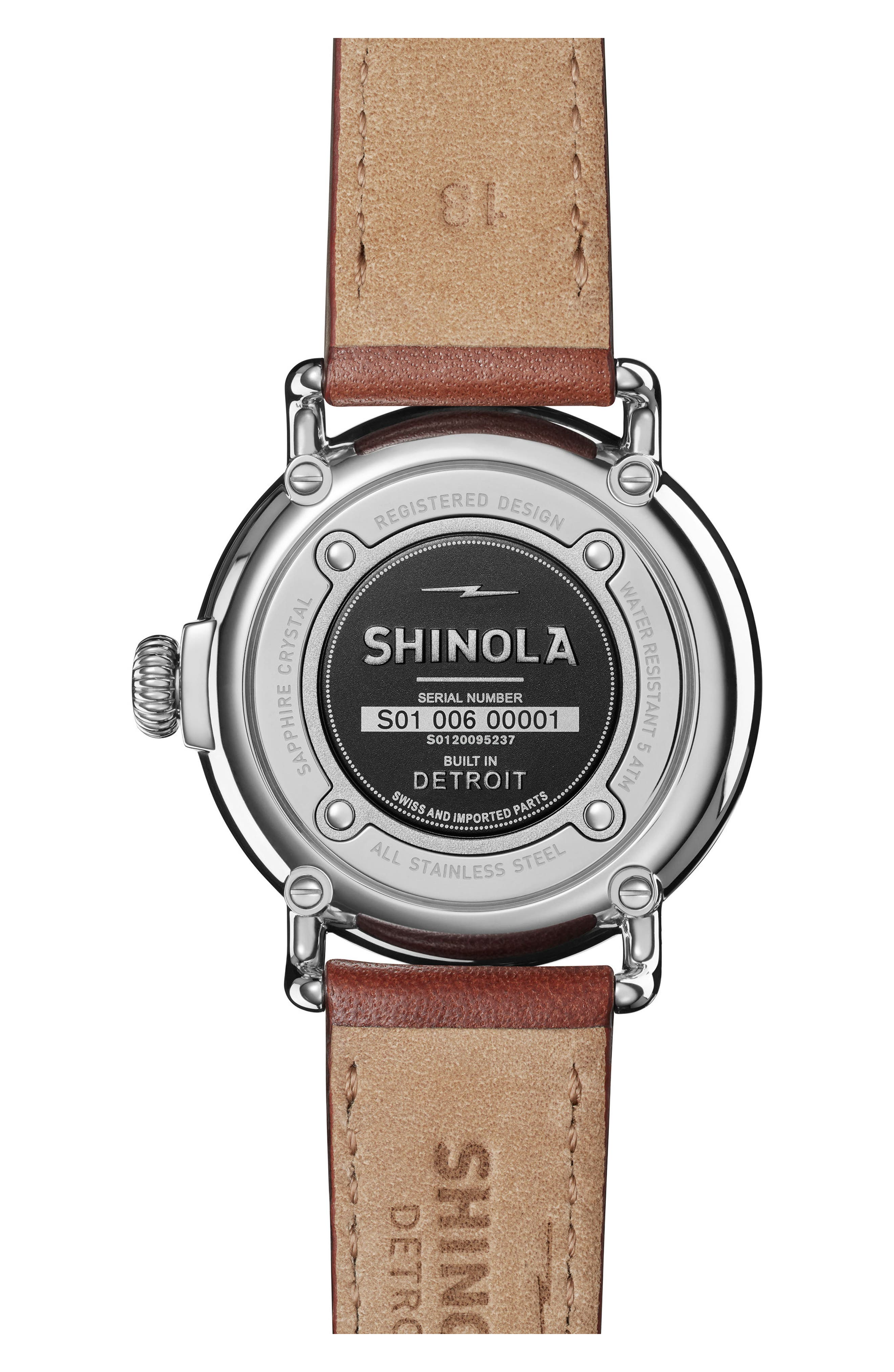 The Runwell Leather Strap Watch, 36mm,                             Alternate thumbnail 2, color,                             DARK COGNAC/ CHAMPAGNE/ SILVER