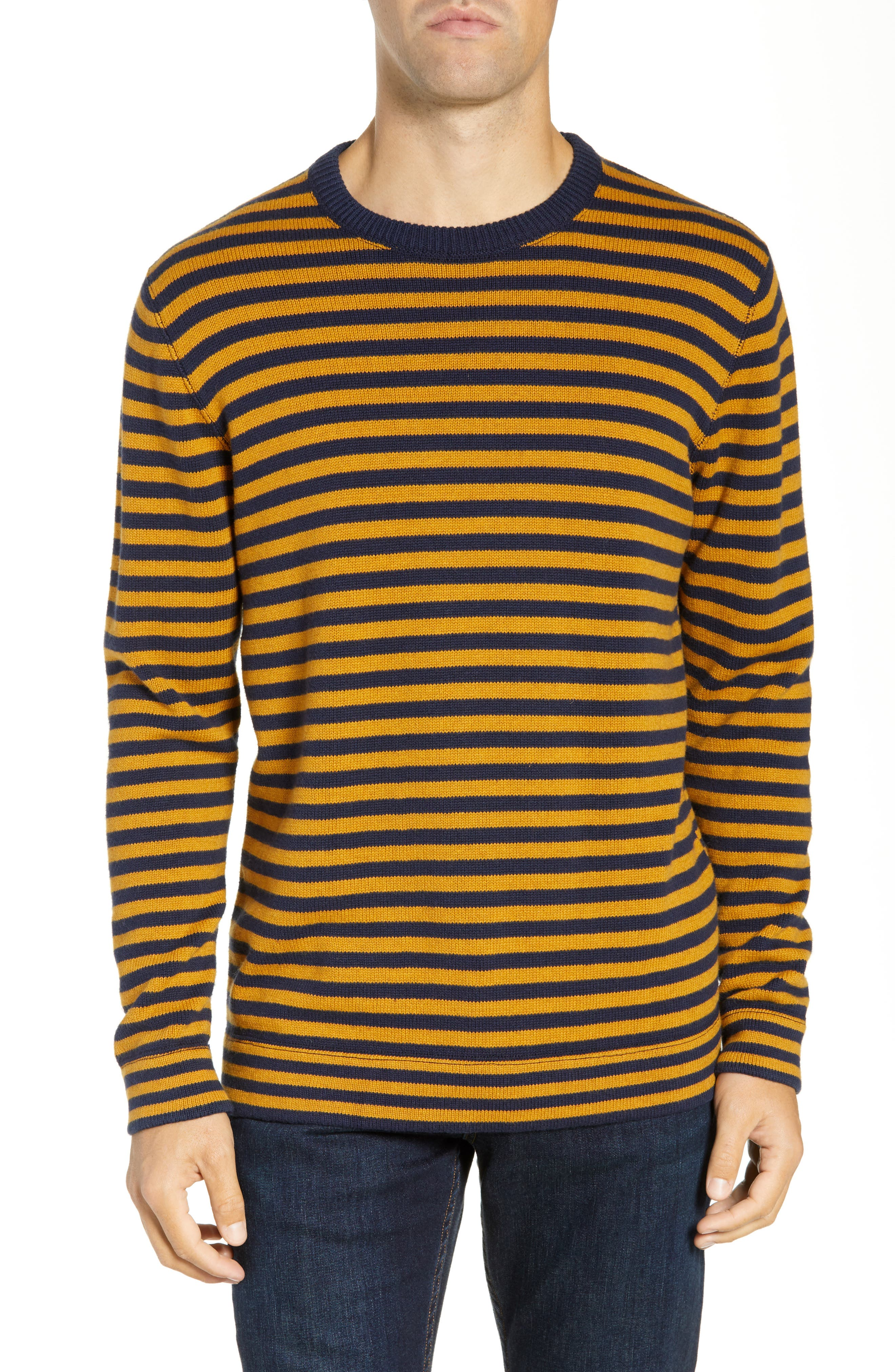 French Connection Stripe Cotton & Wool Sweater, Blue