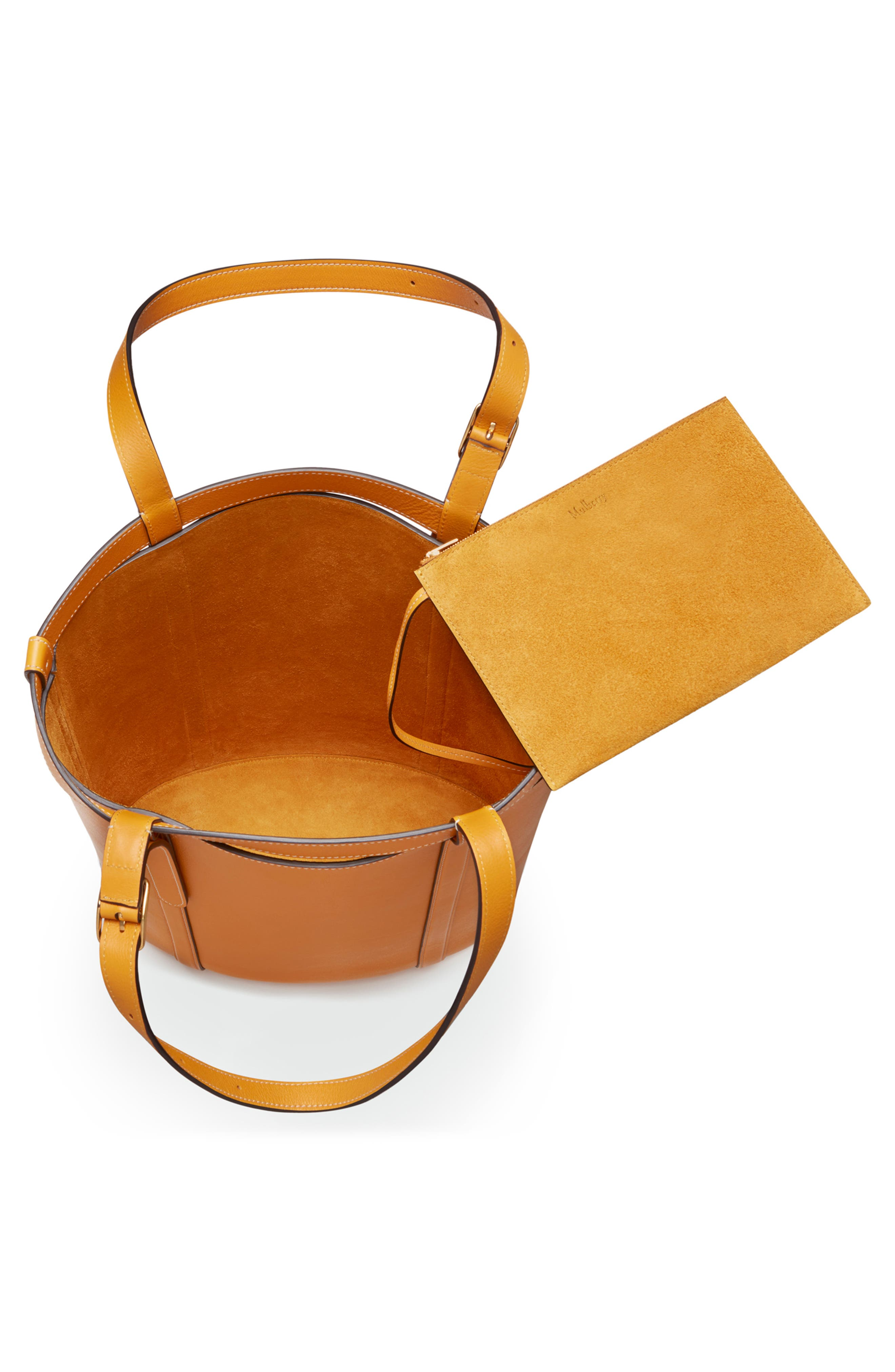 Small Wilton Leather Bucket Bag,                             Alternate thumbnail 3, color,                             DEEP AMBER