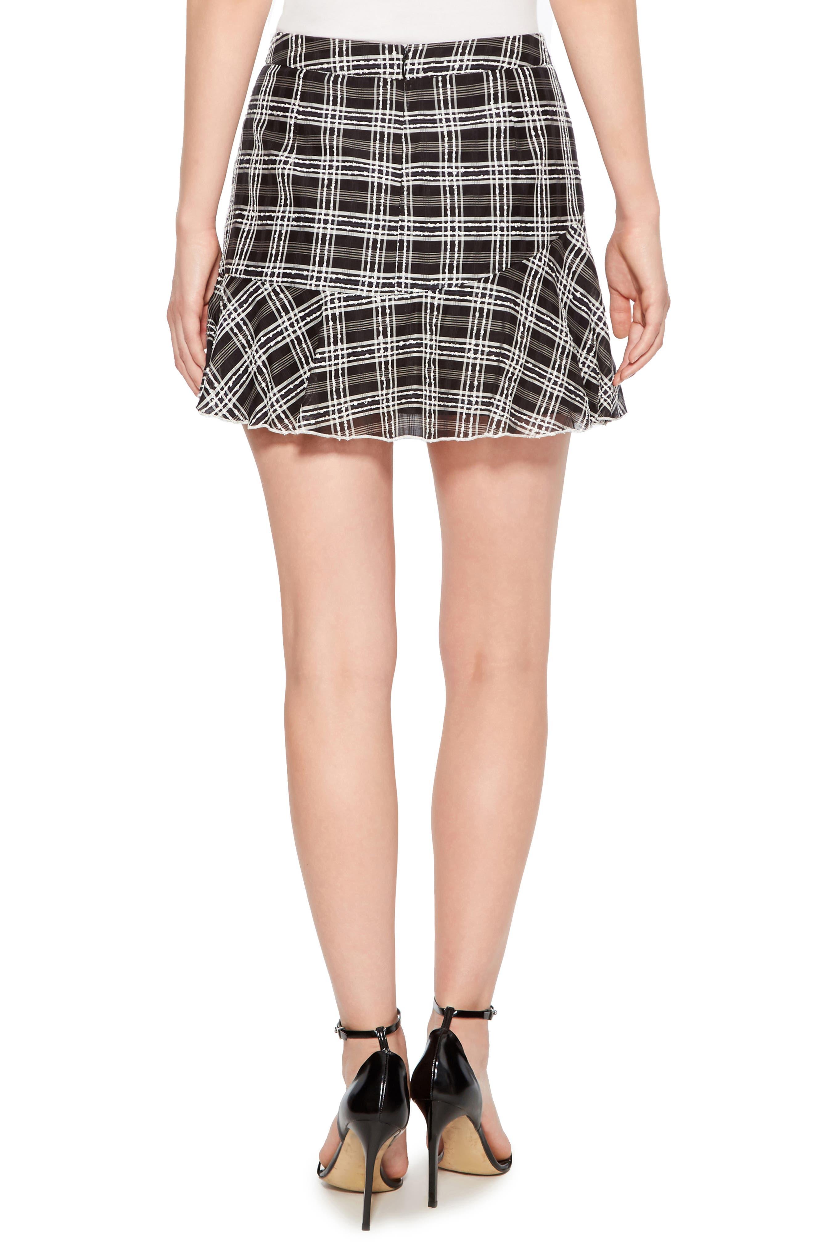 Chris Side Ruched Miniskirt,                             Alternate thumbnail 2, color,                             BLACK/ WHITE