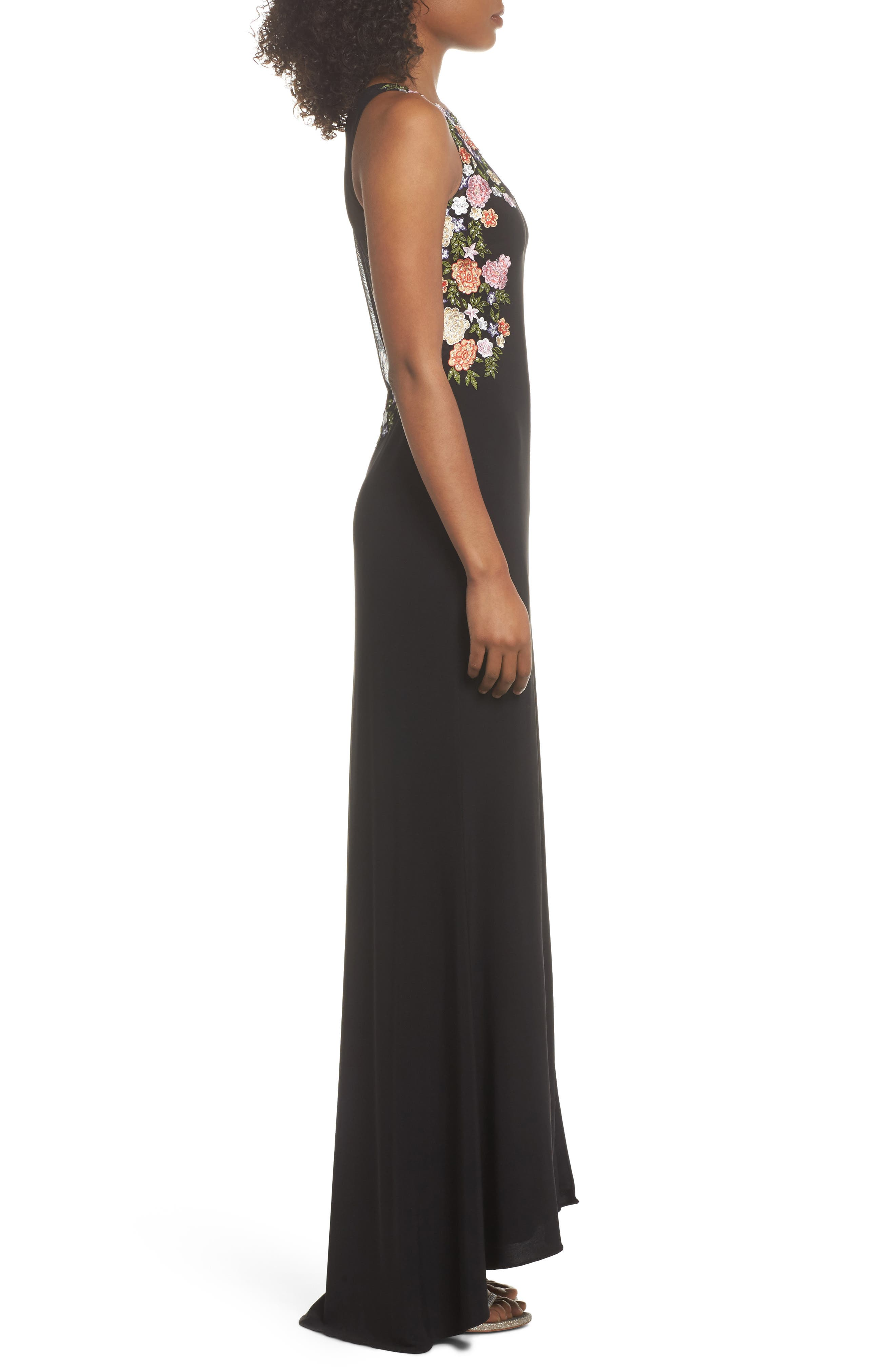 Embellished Sheer Back Knit Gown,                             Alternate thumbnail 3, color,                             BLACK/ MULTI