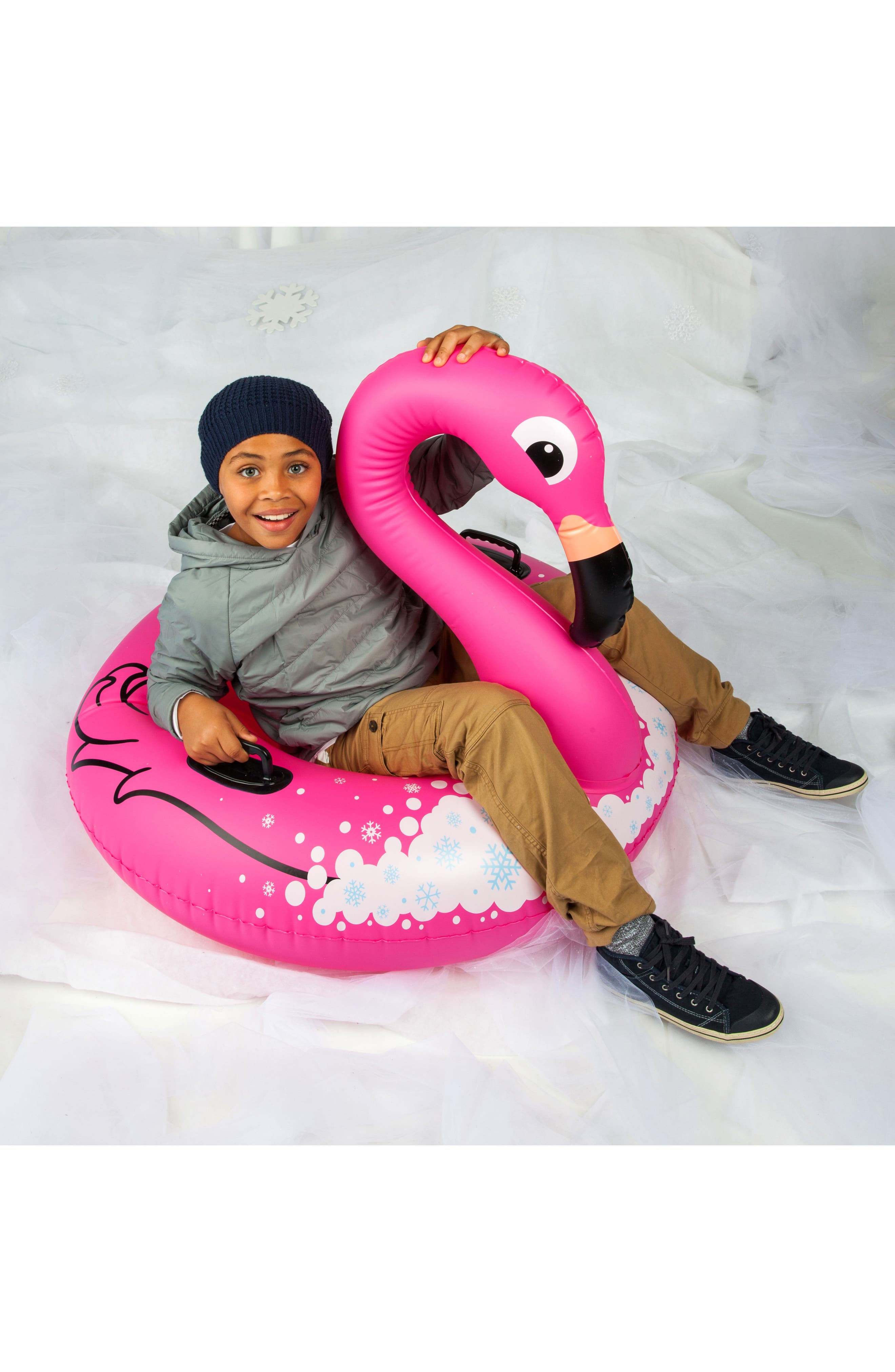 Winter Flamingo Inflatable Snow Tube,                             Alternate thumbnail 3, color,                             670