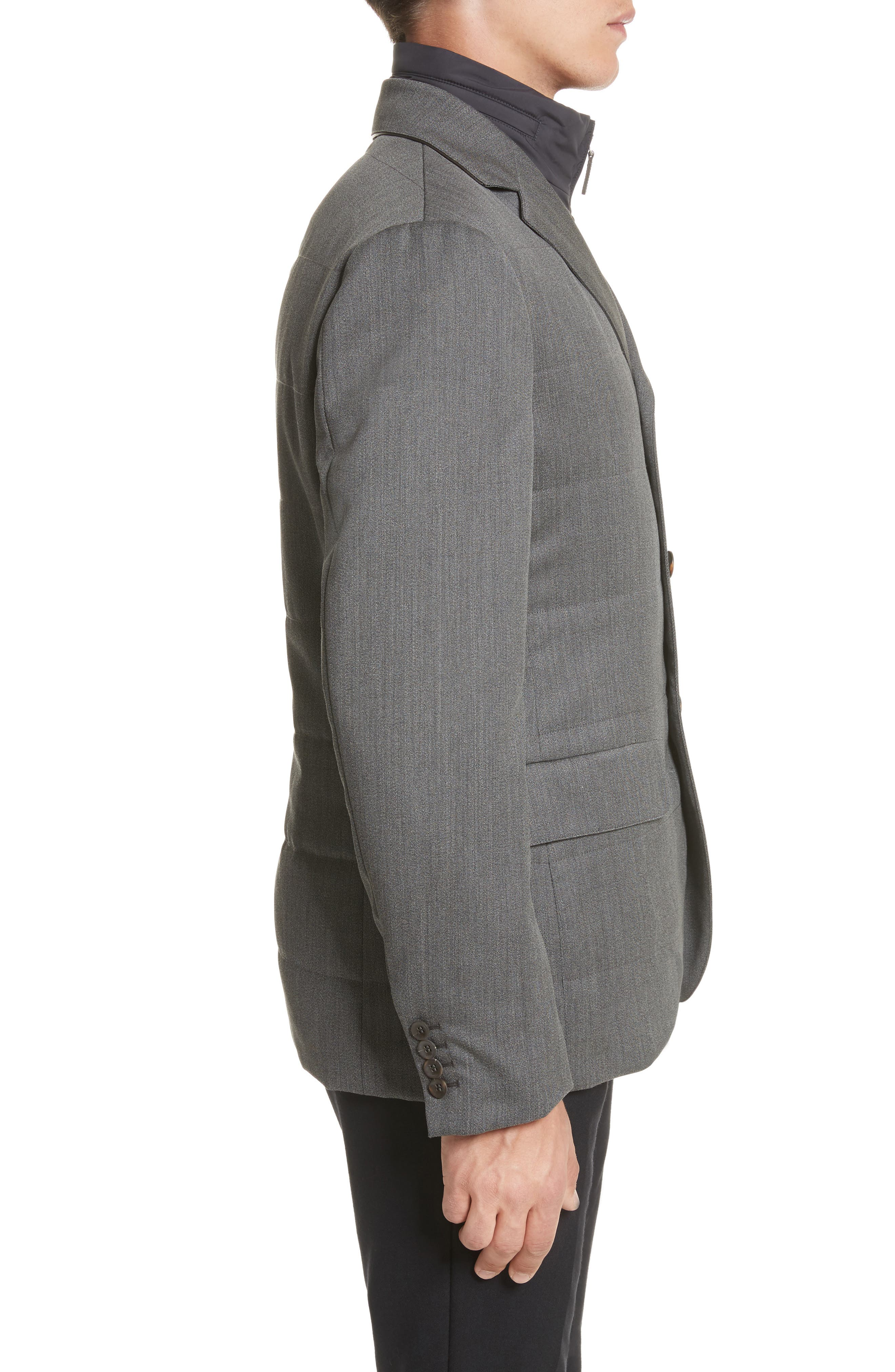 Water-Resistant Wool Jacket with Bib,                             Alternate thumbnail 3, color,                             050