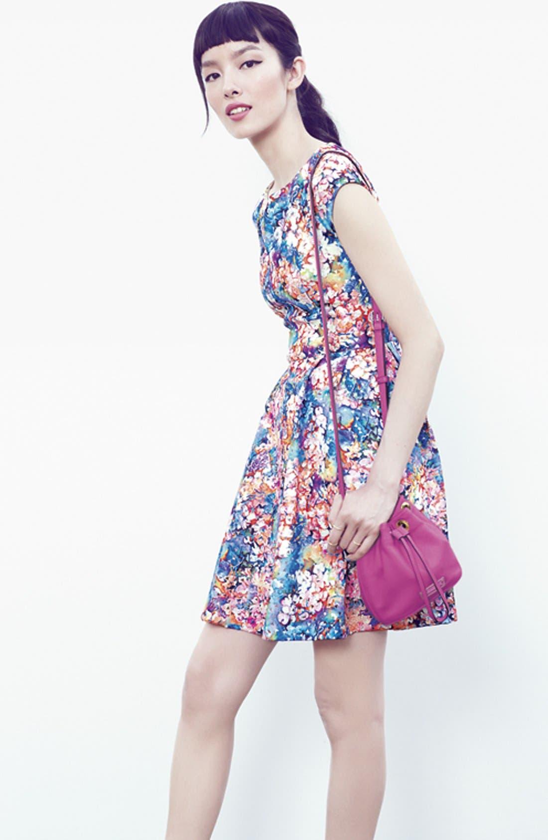 BETSEY JOHNSON,                             Laser Cut Floral Print Scuba Fit & Flare Dress,                             Alternate thumbnail 5, color,                             650