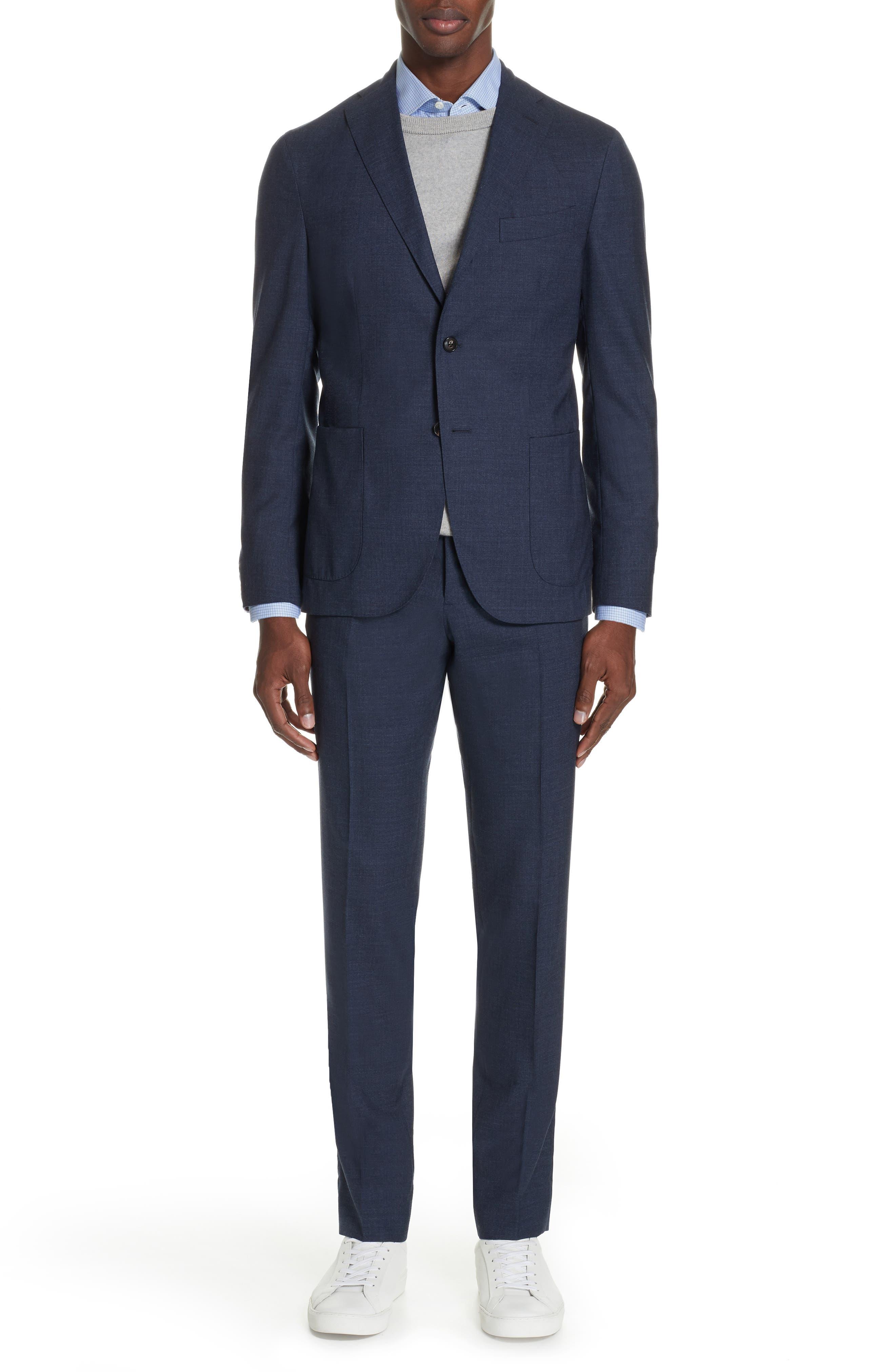 Trim Fit Solid Wool Suit,                         Main,                         color, BLUE