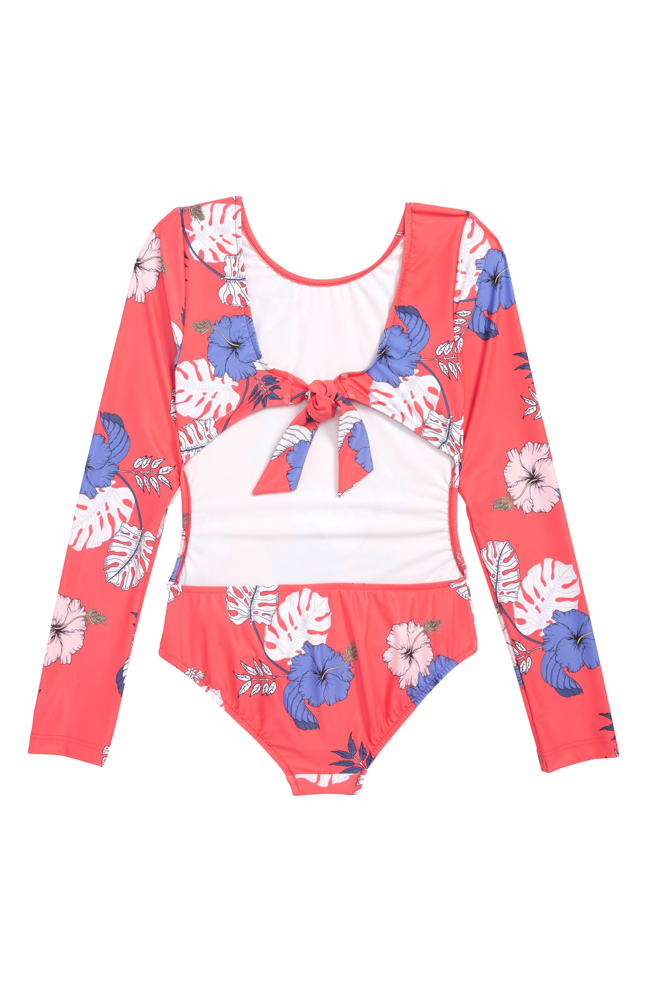 Tropical Vibes Two-Piece Long Sleeve Swimsuit,                             Alternate thumbnail 2, color,                             HIBISCUS RED