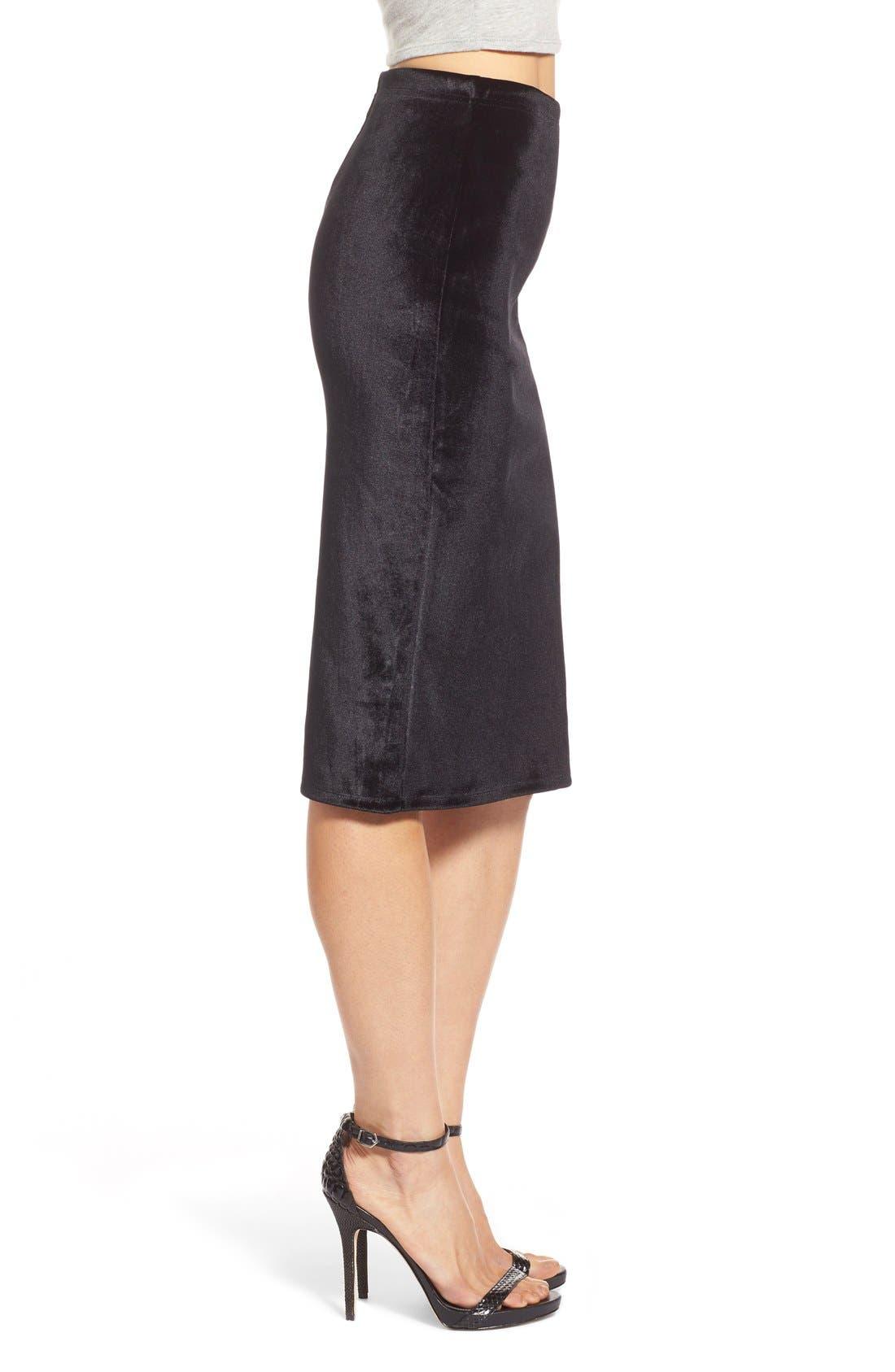 LEITH,                             Velour Pencil Skirt,                             Alternate thumbnail 4, color,                             001