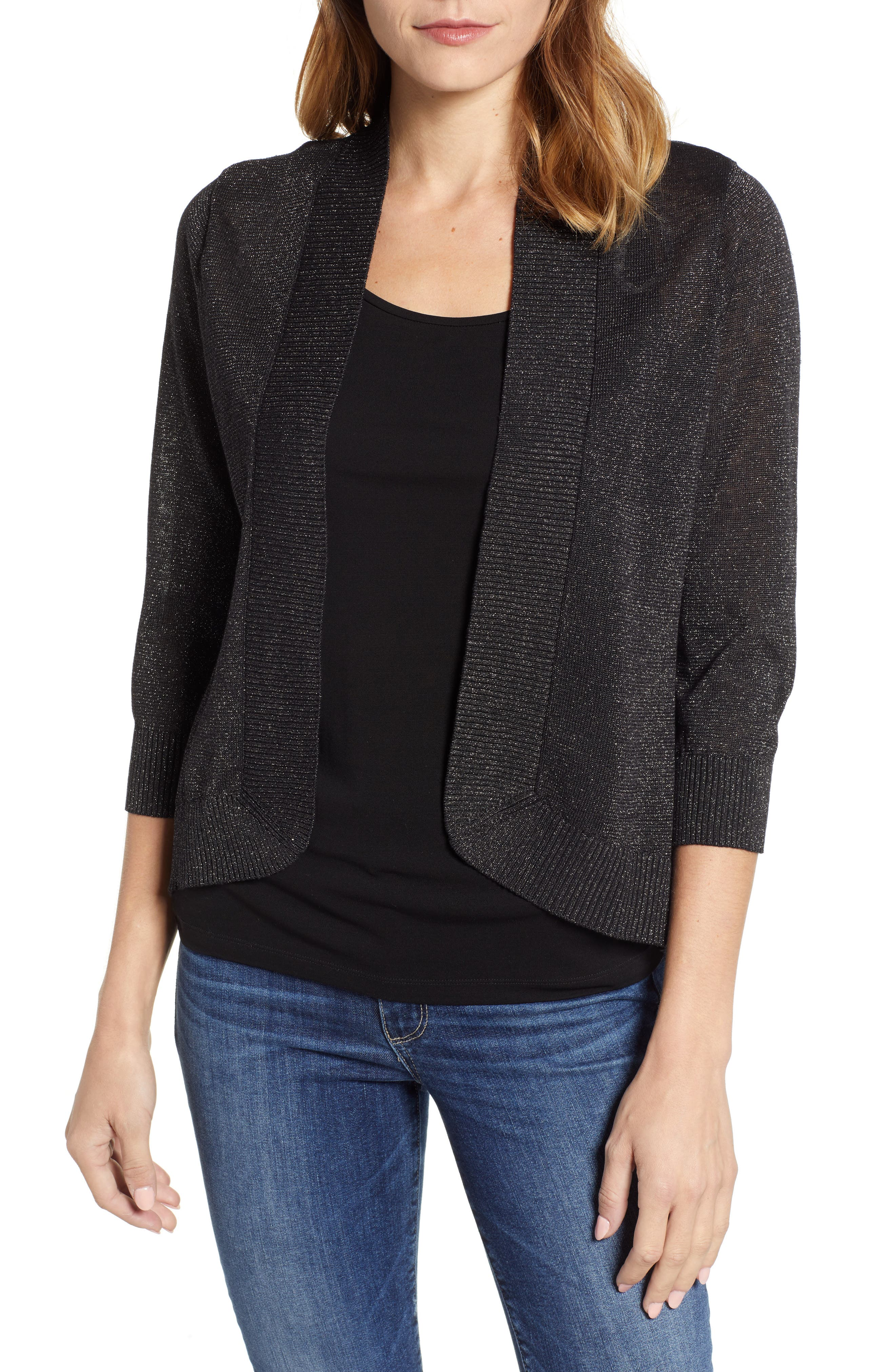 Lea Shimmer Open Front Cardigan,                             Main thumbnail 1, color,                             PEWTER