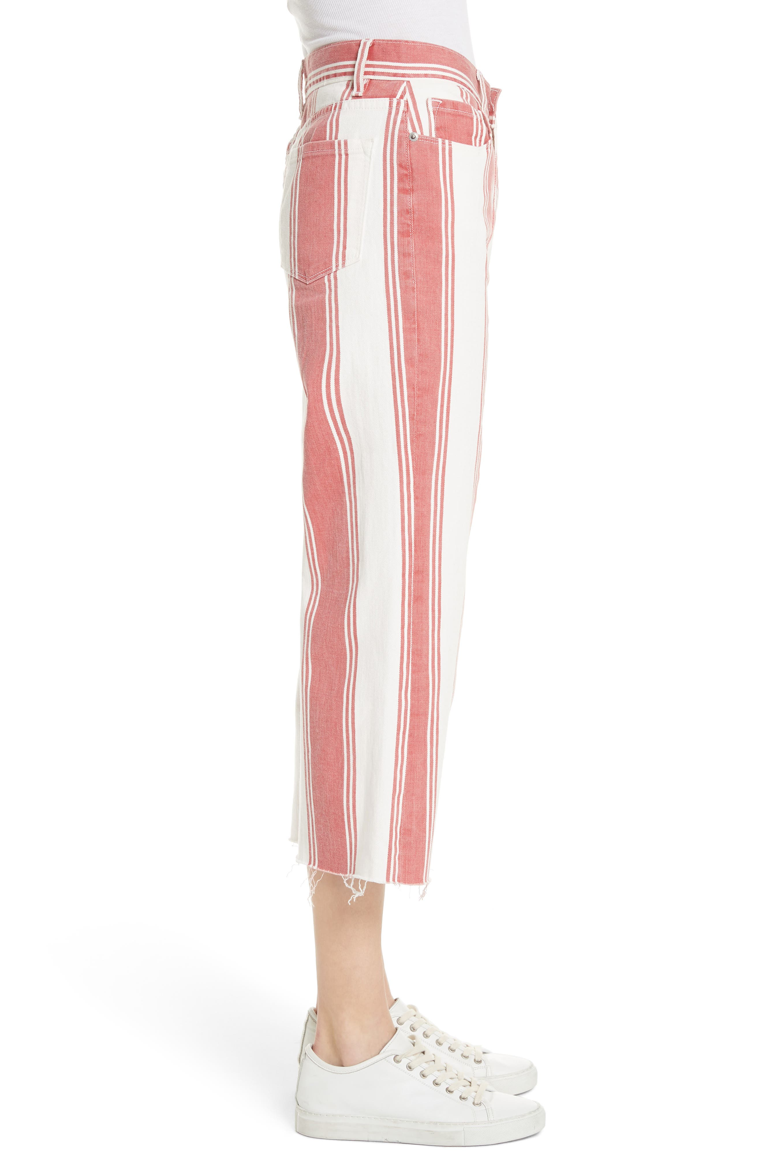 Vintage Stripe Crop Jeans,                             Alternate thumbnail 3, color,                             FIERY STRIPE