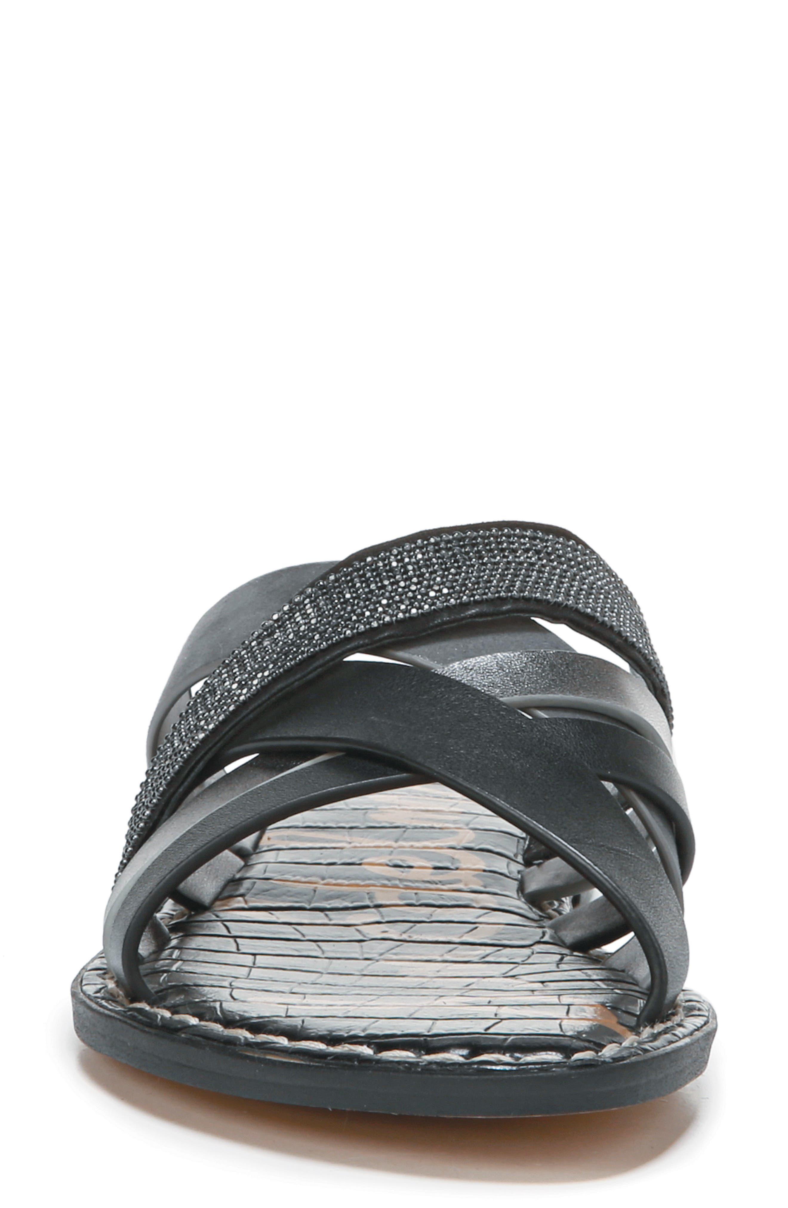 Glennia Slide Sandal,                             Alternate thumbnail 4, color,                             DARK PEWTER/ BLACK LEATHER
