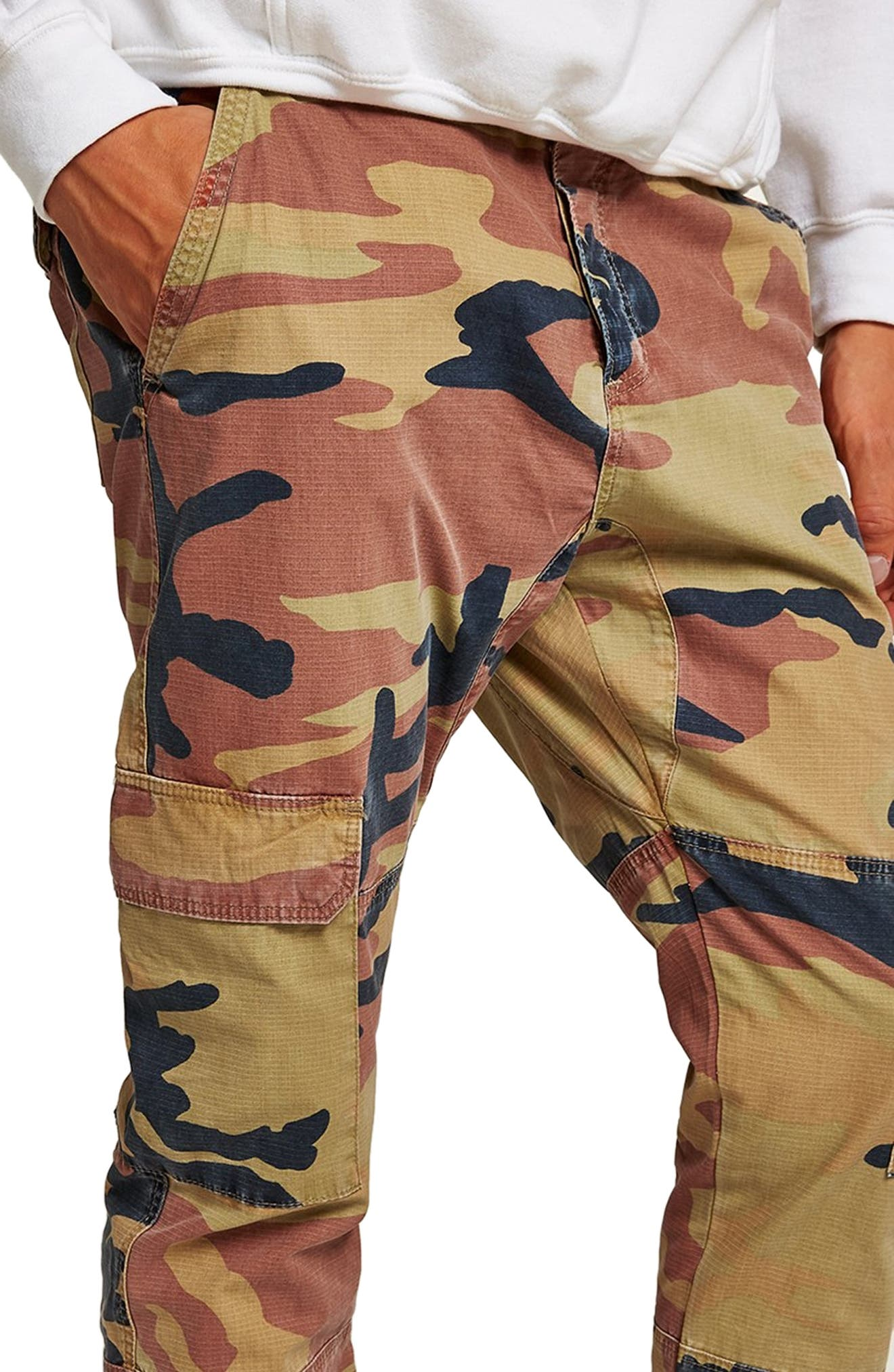 Camouflage Skinny Cargo Trousers,                             Alternate thumbnail 3, color,                             STONE
