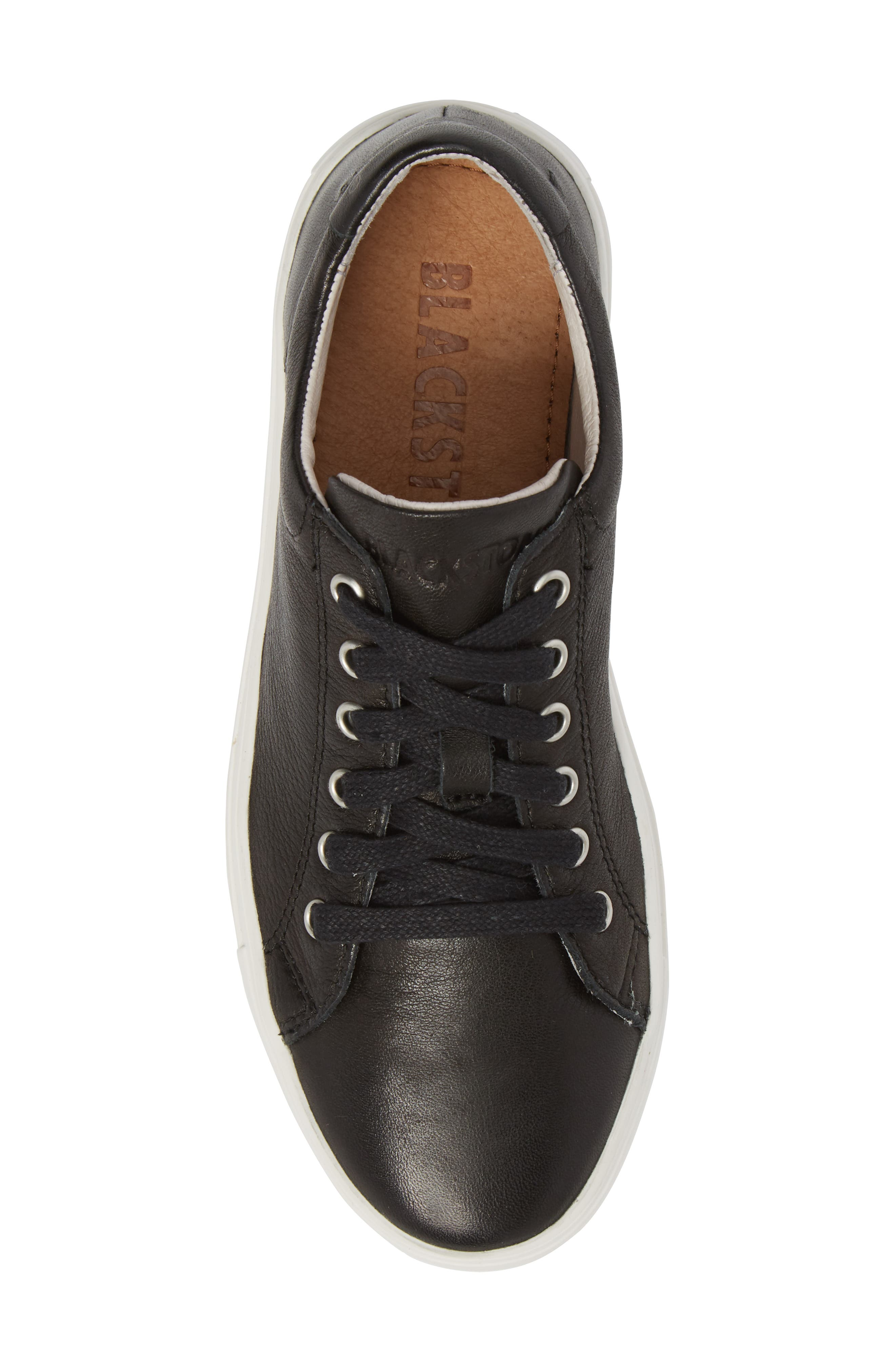 PL71 Low Top Sneaker,                             Alternate thumbnail 5, color,                             BLACK LEATHER