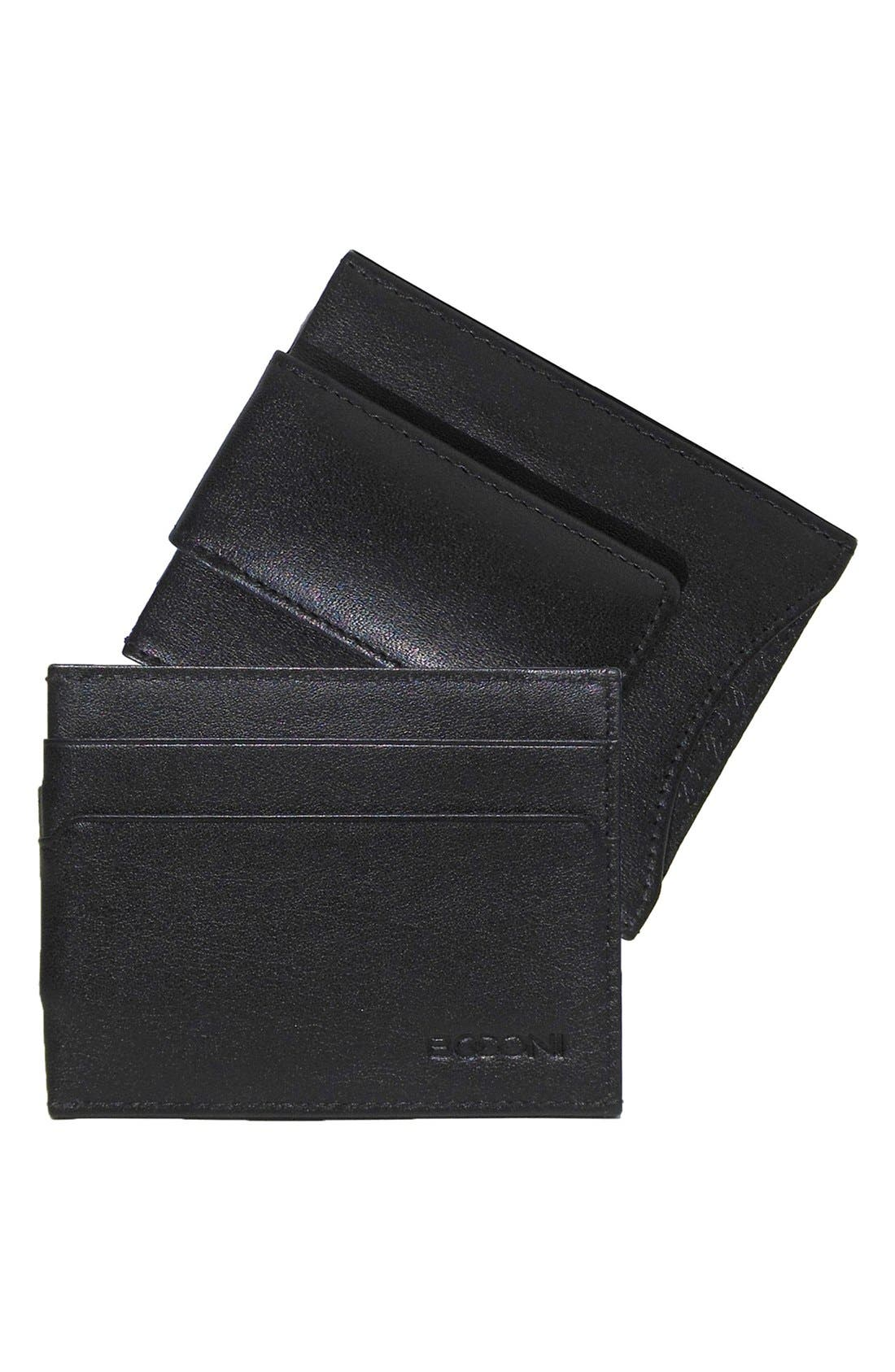 'Grant' Money Clip Card Case,                             Alternate thumbnail 3, color,                             BLACK/ GREY
