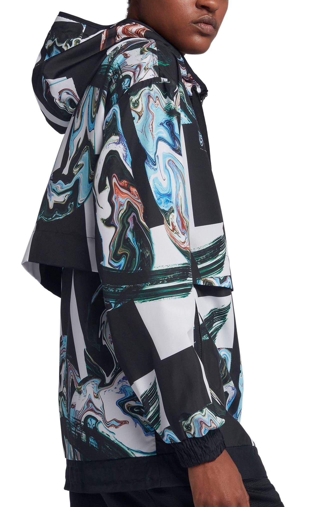 Sportswear Women's Marble Print Hooded Jacket,                             Alternate thumbnail 5, color,