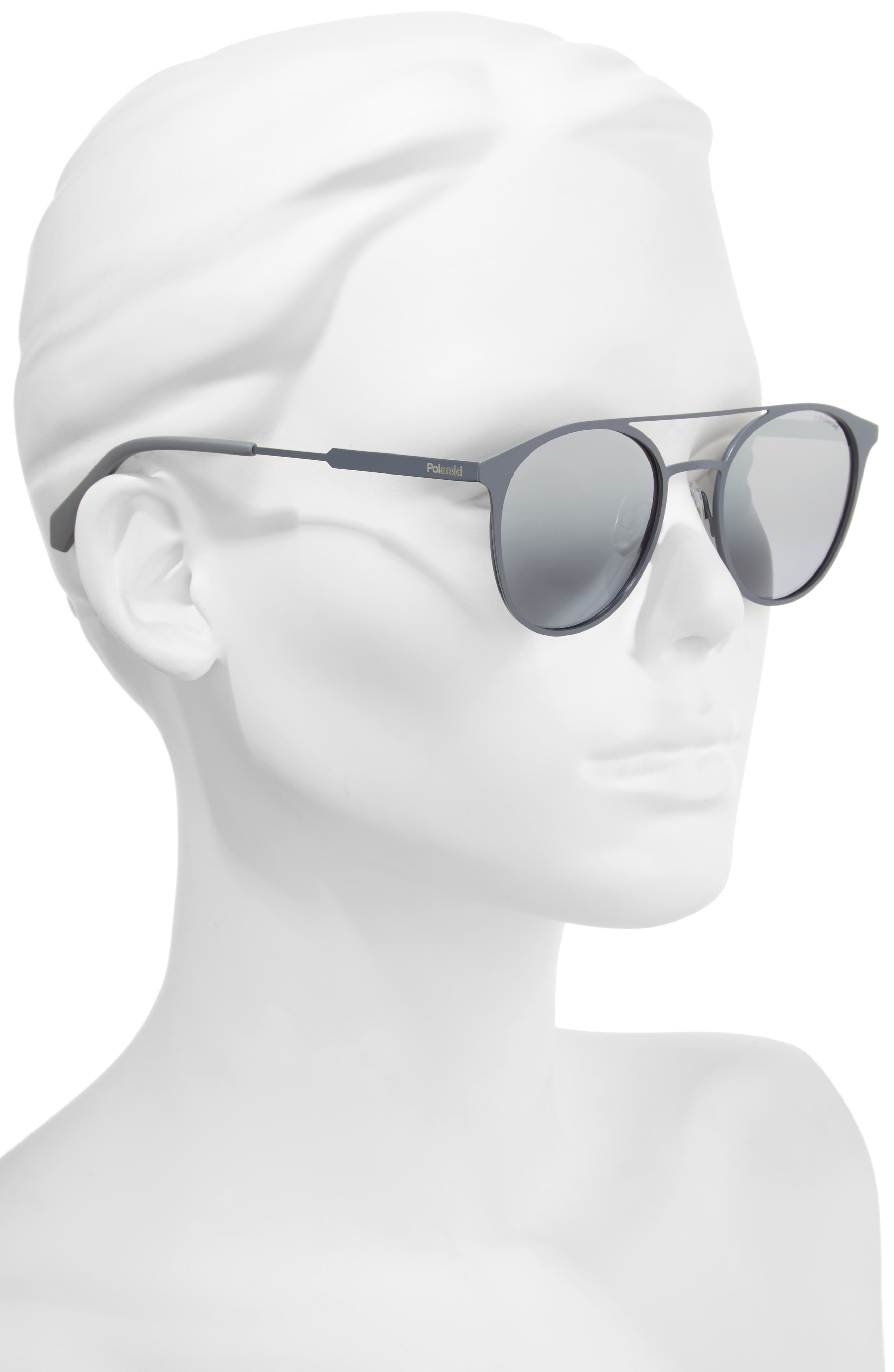 51mm Polarized Round Stainless Steel Sunglasses,                             Alternate thumbnail 4, color,