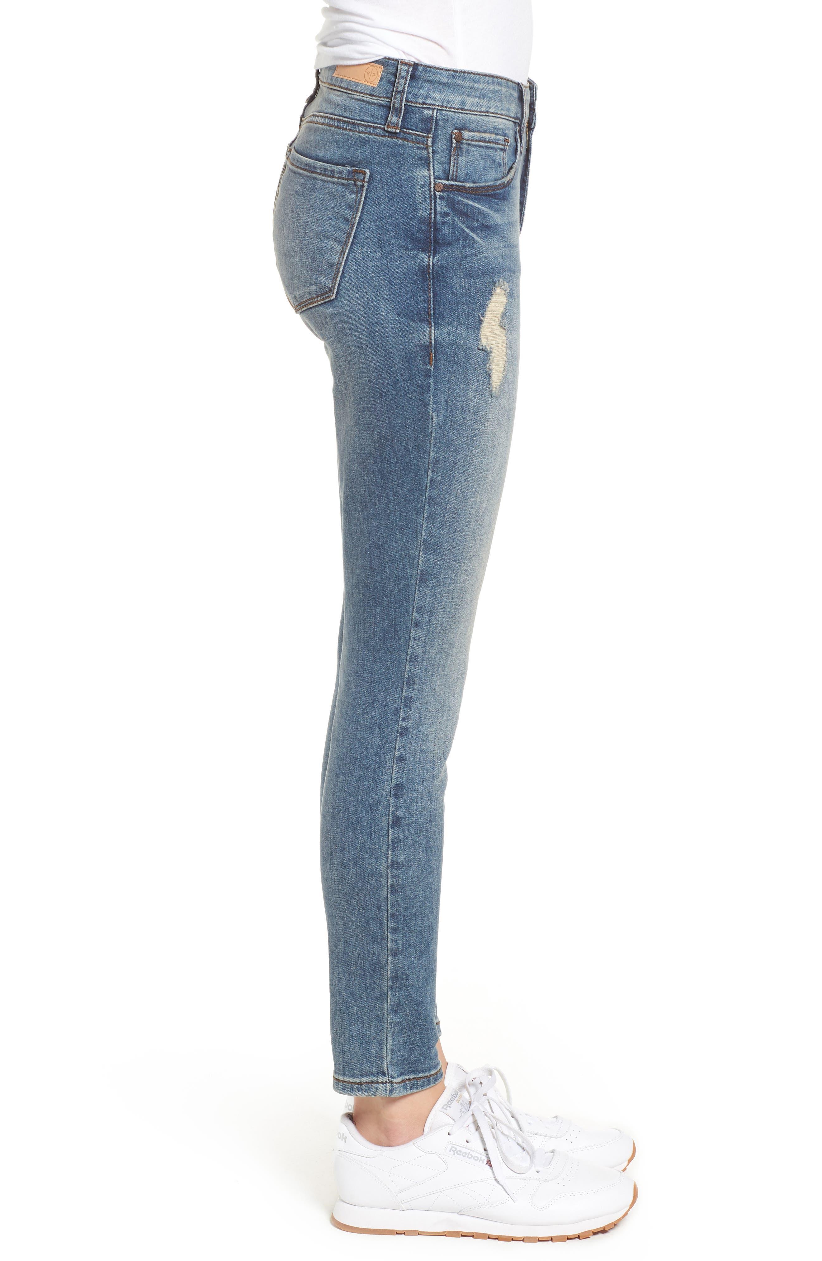 Distressed Skinny Jeans,                             Alternate thumbnail 3, color,                             LIGHT WASH