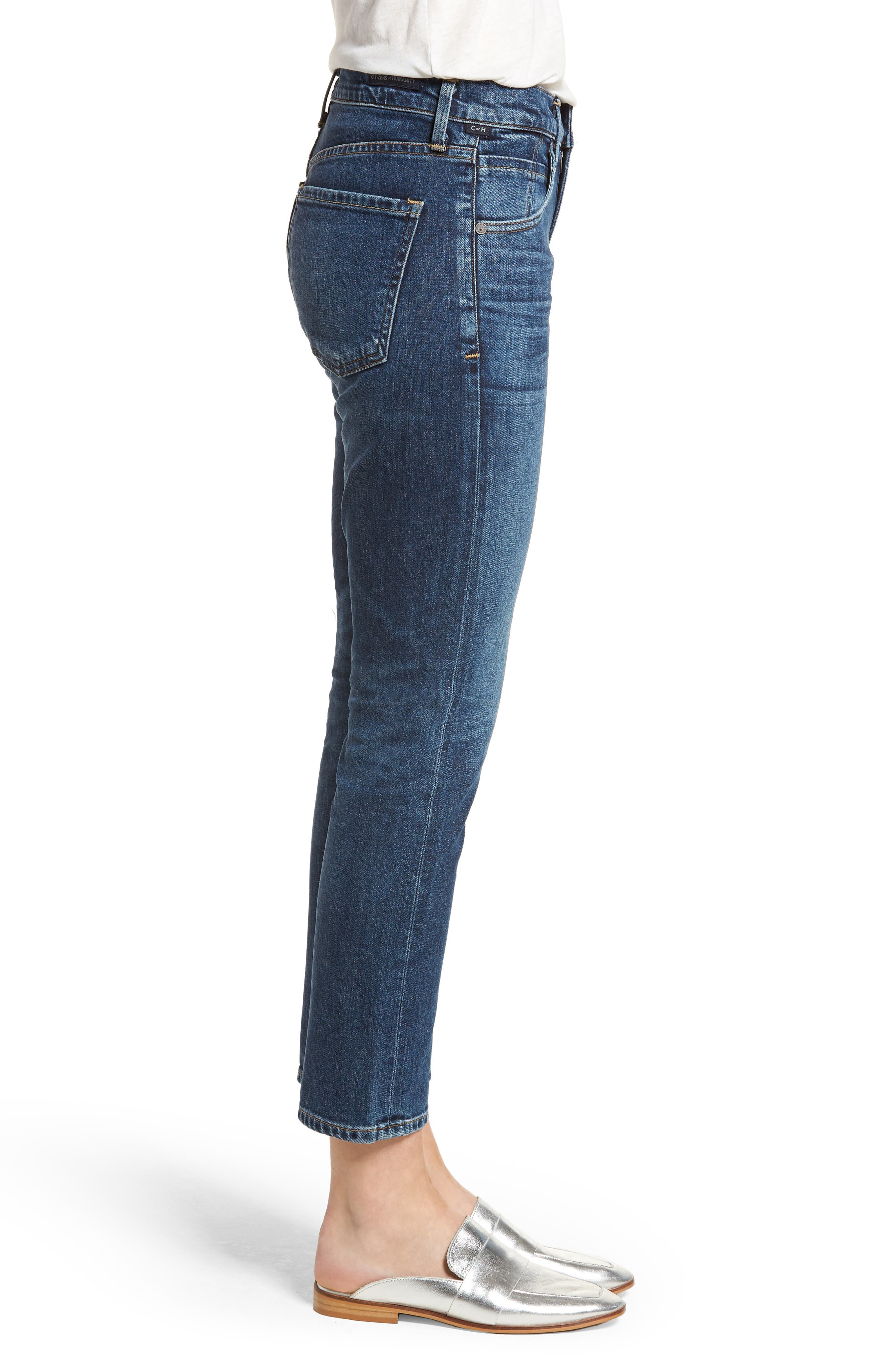 Elsa Crop Slim Jeans,                             Alternate thumbnail 3, color,                             428