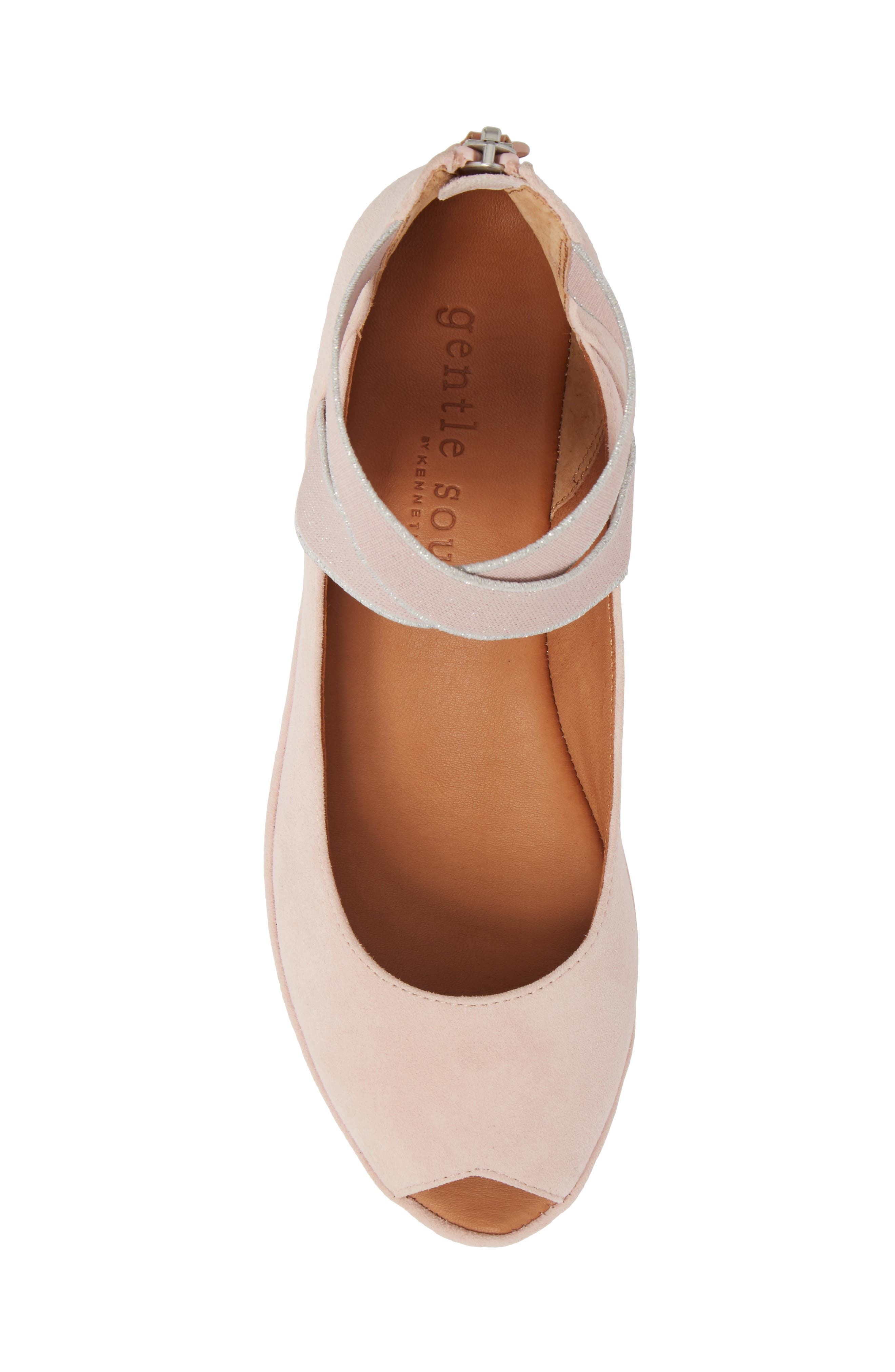 by Kenneth Cole Lisa Wedge Sandal,                             Alternate thumbnail 5, color,                             PEONY SUEDE