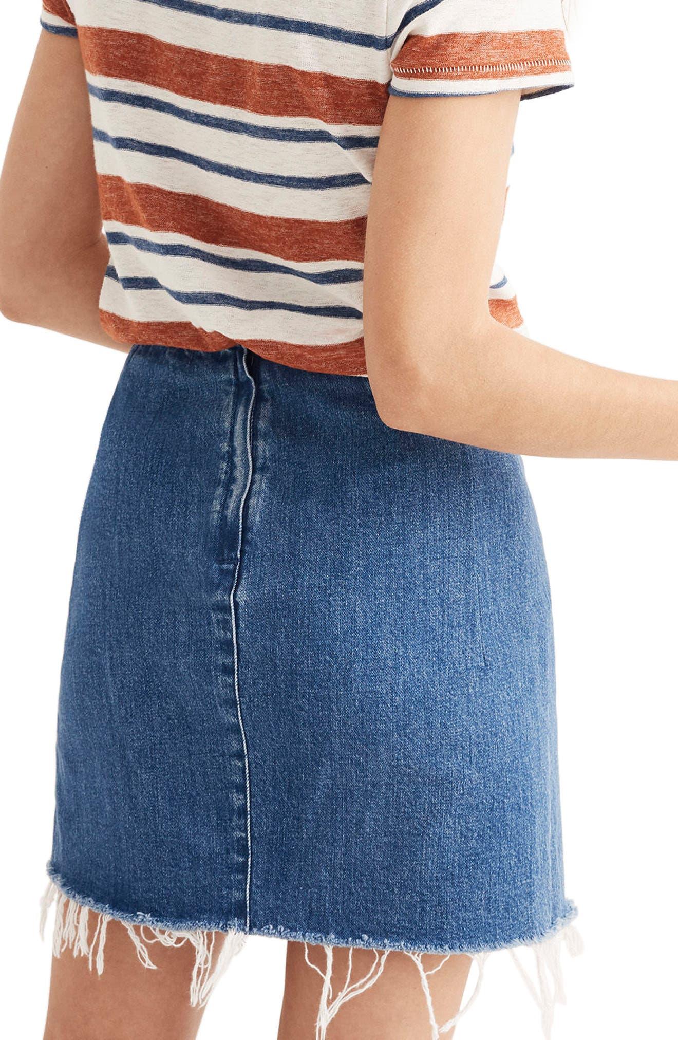 Denim Faux Wrap Mini Skirt,                             Alternate thumbnail 2, color,                             400