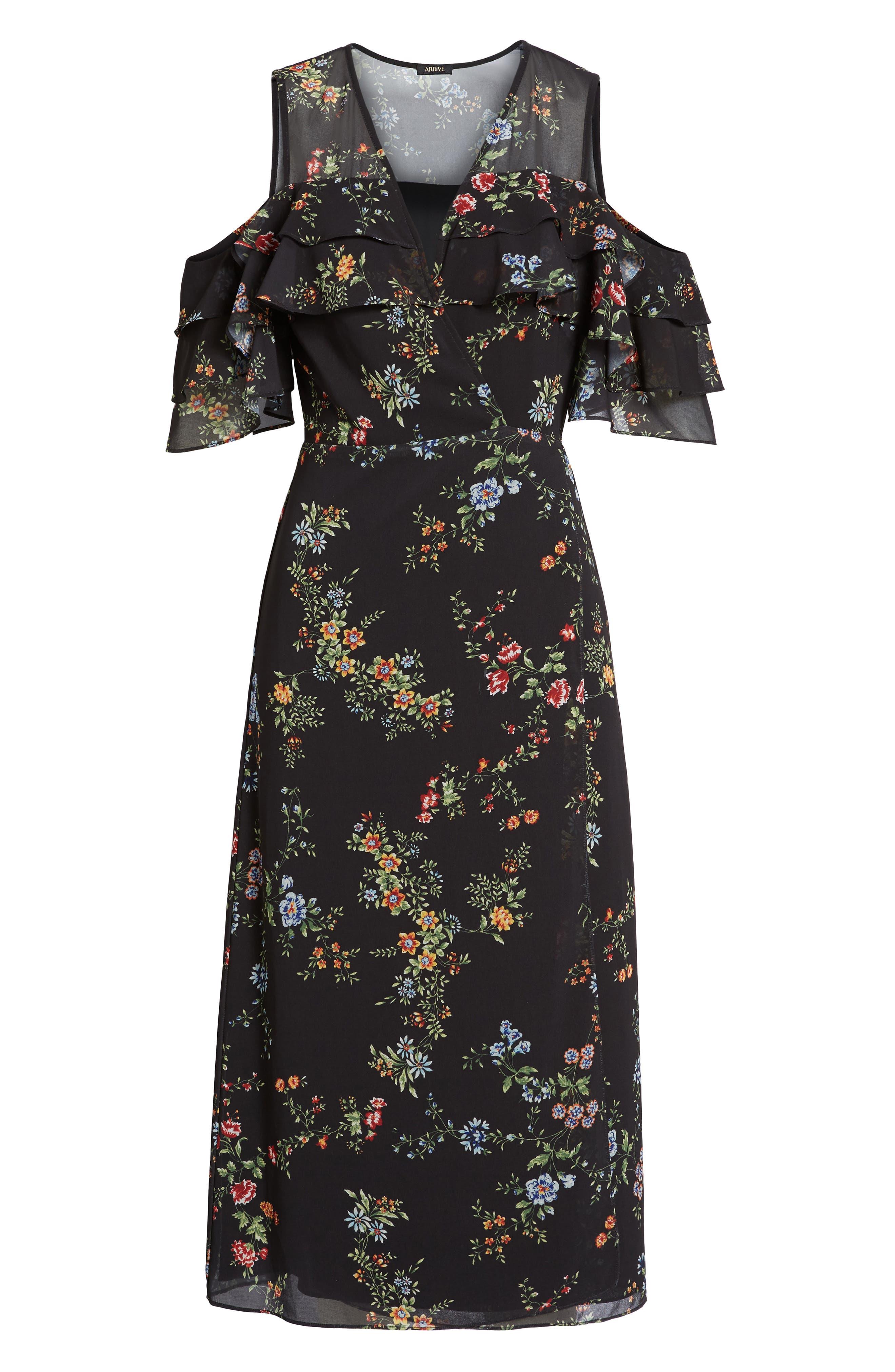Daisy Wrap Midi Dress,                             Alternate thumbnail 6, color,                             001